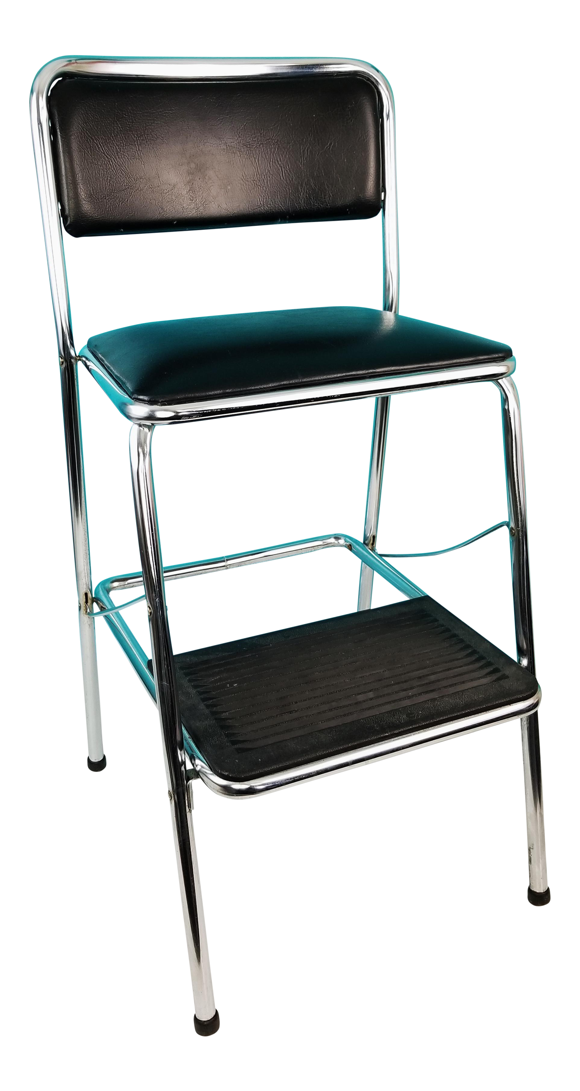 Mid Century Cosco Black Vinyl Chrome Folding Kitchen Step Stool Chair Chairish
