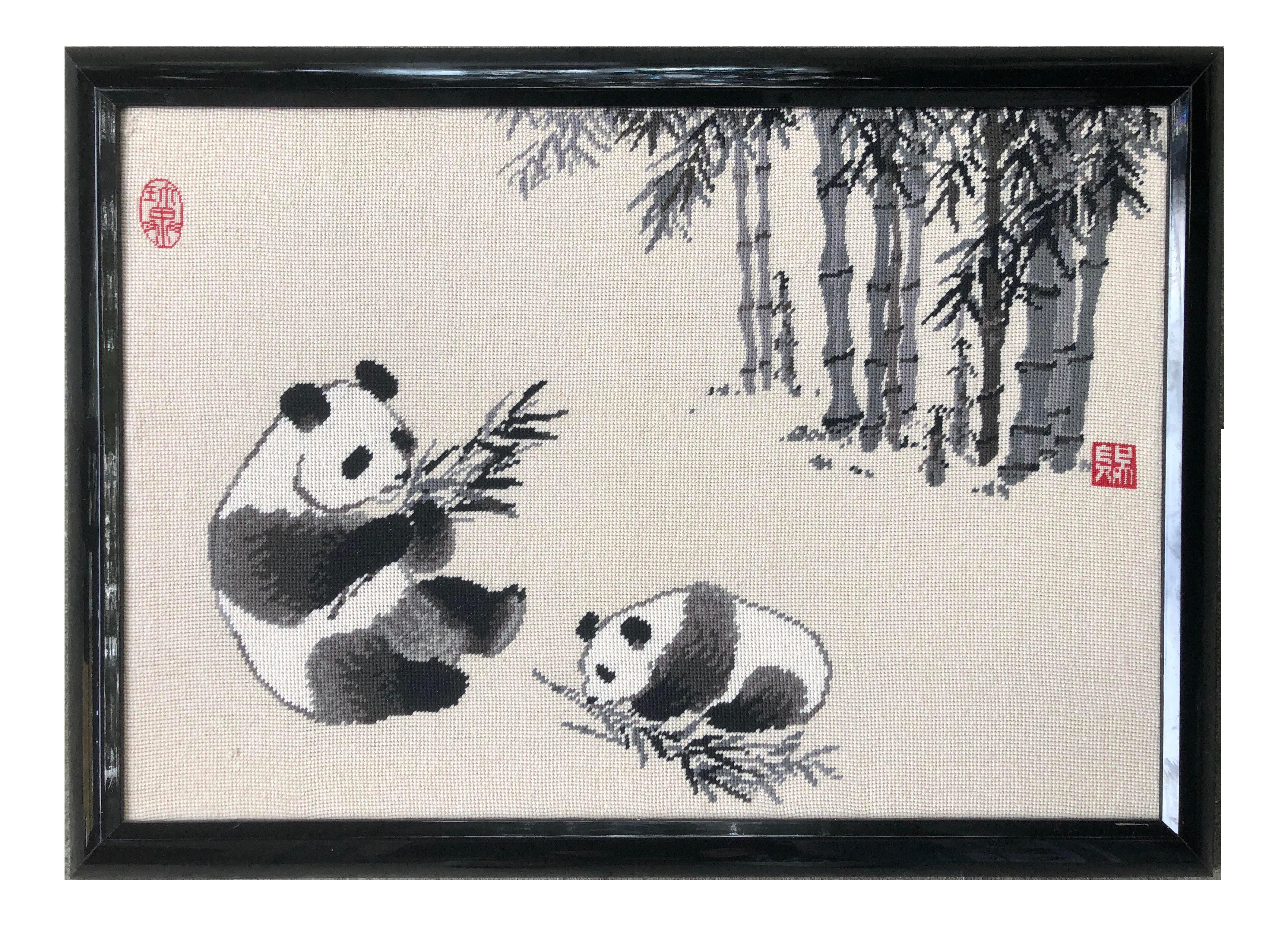Framed Vintage Bear Needlpoint