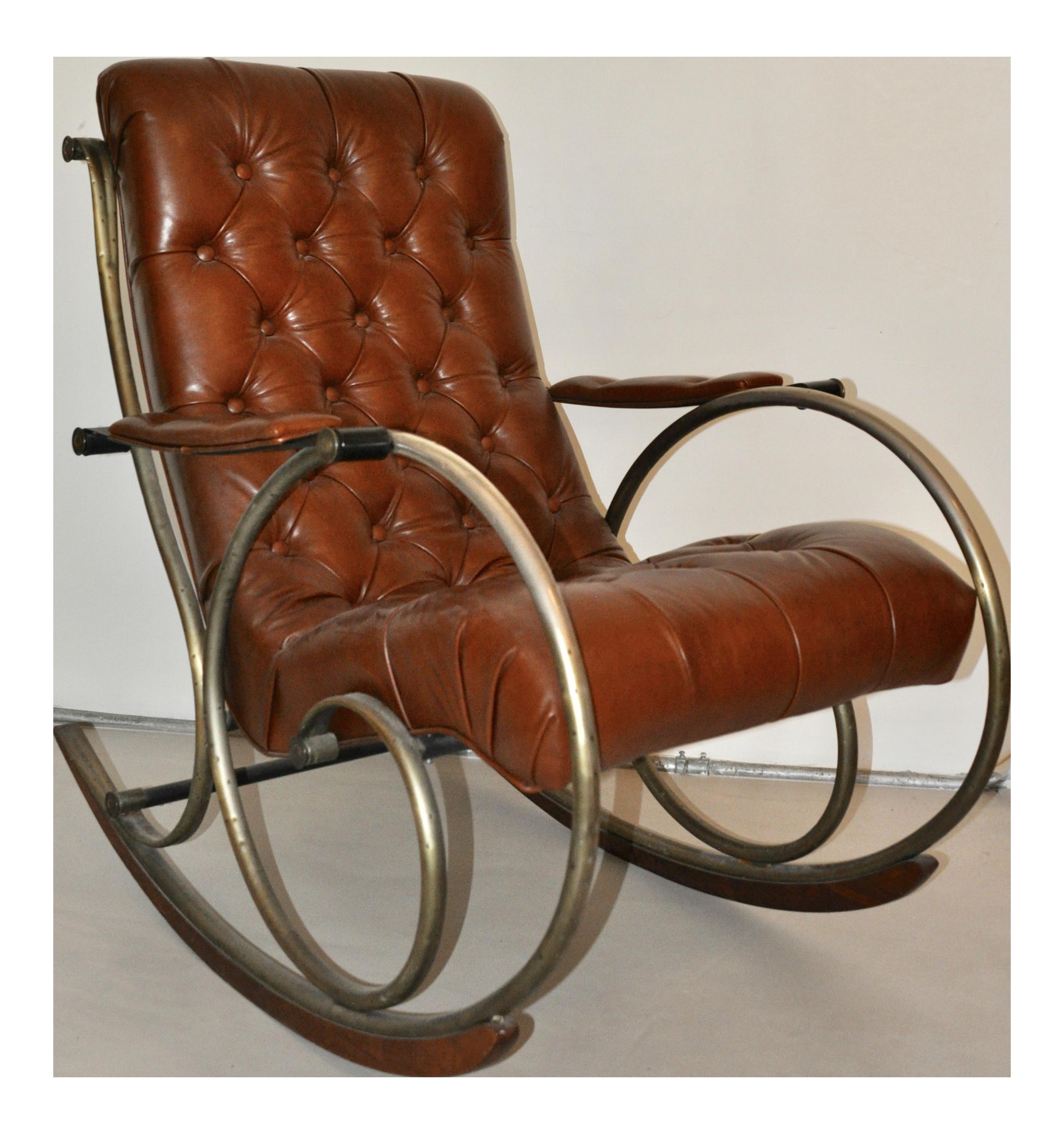 Antique Brass, Steel & Leather Rocking Chair | Chairish