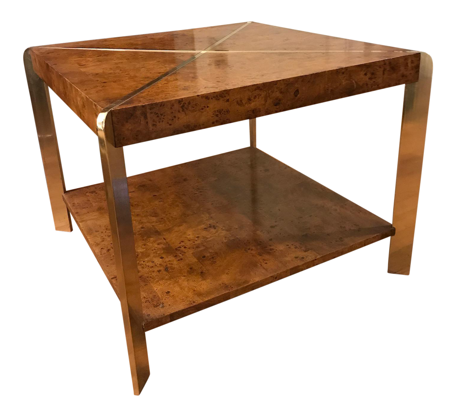 Vintage Brass & Burl Wood Coffee Table