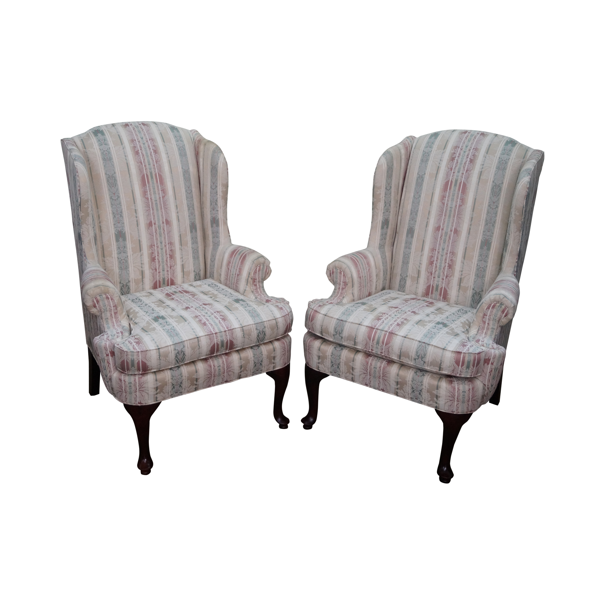 Thomasville Traditional Queen Anne Wing Chairs - 2 | Chairish