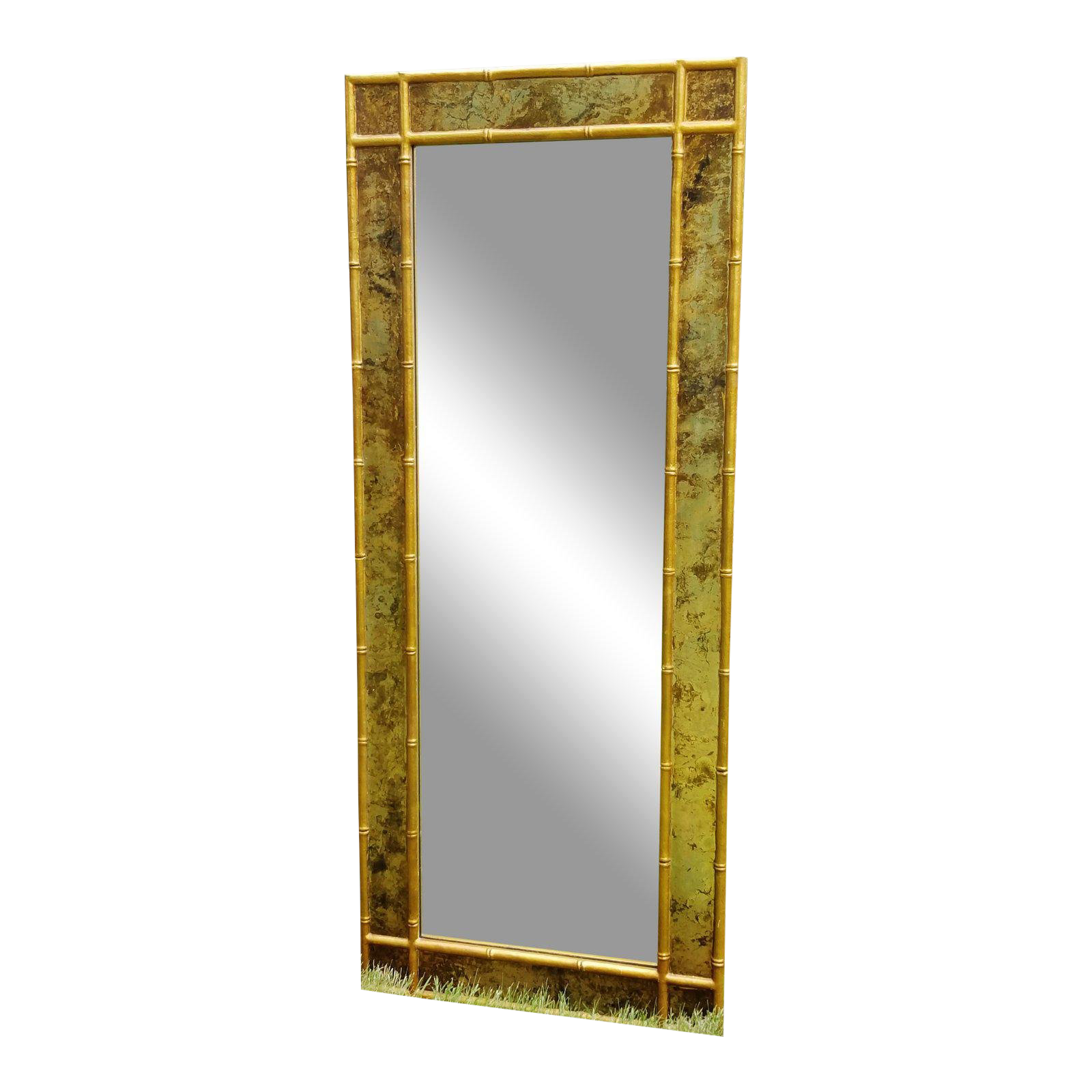 Hollywood regency gold faux bamboo mirror chairish