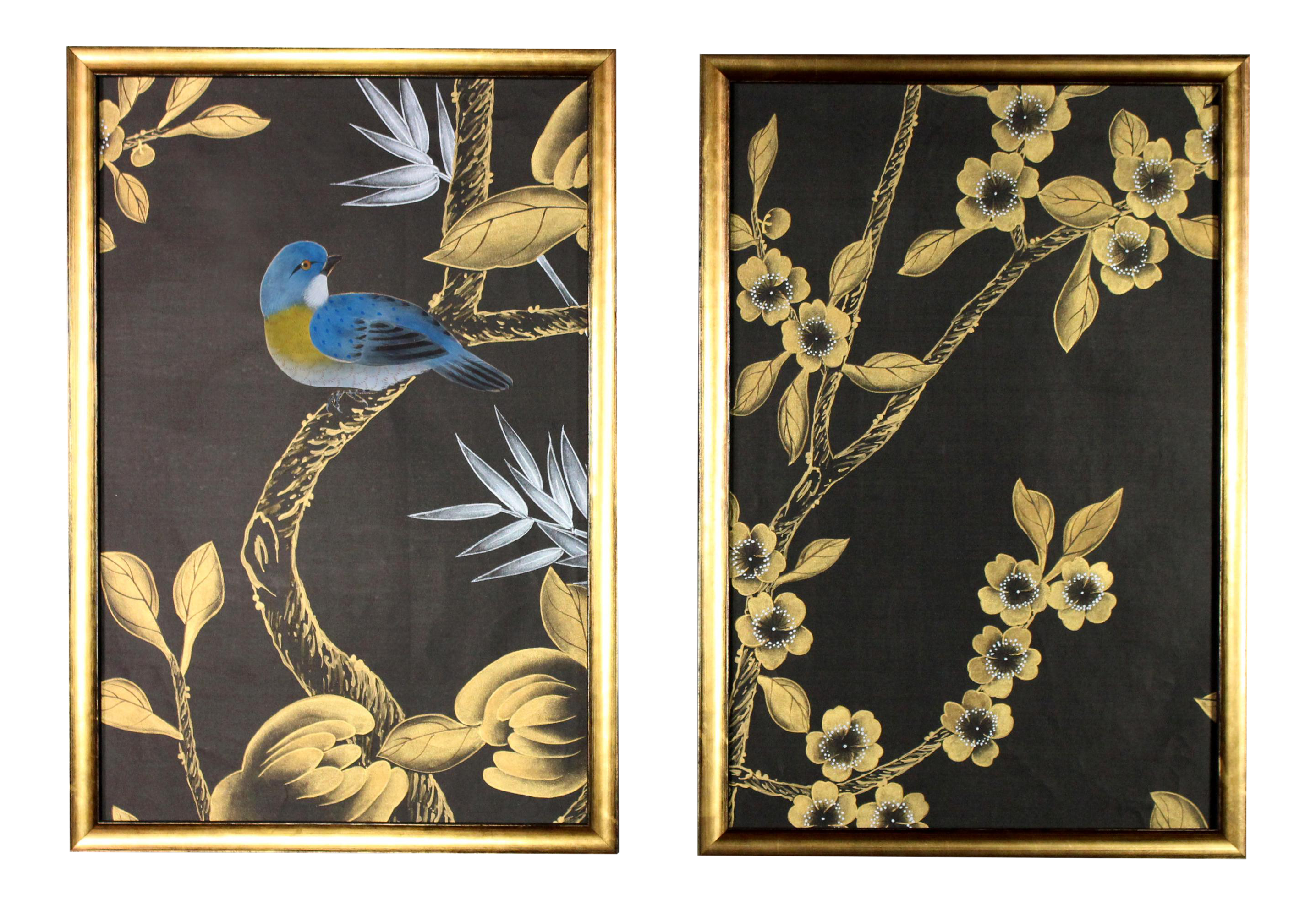 Black Silk Chinoiserie Wallpaper Diptych Paintings 2 Pieces