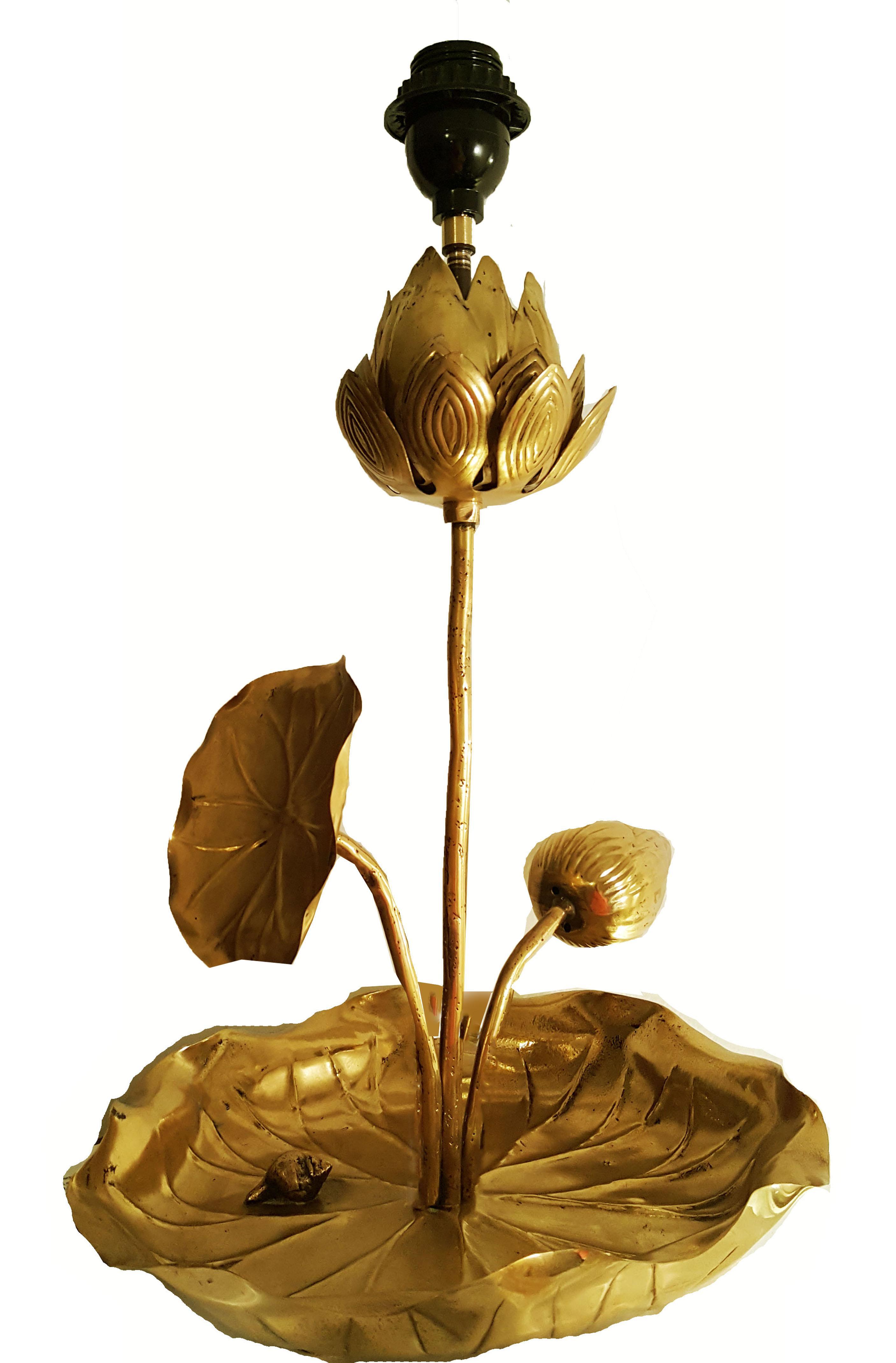 Vintage french lotus table lamp chairish izmirmasajfo