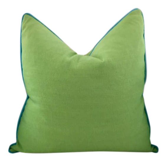 Lime Green With Turquoise Contrast Welt Pillow Chairish