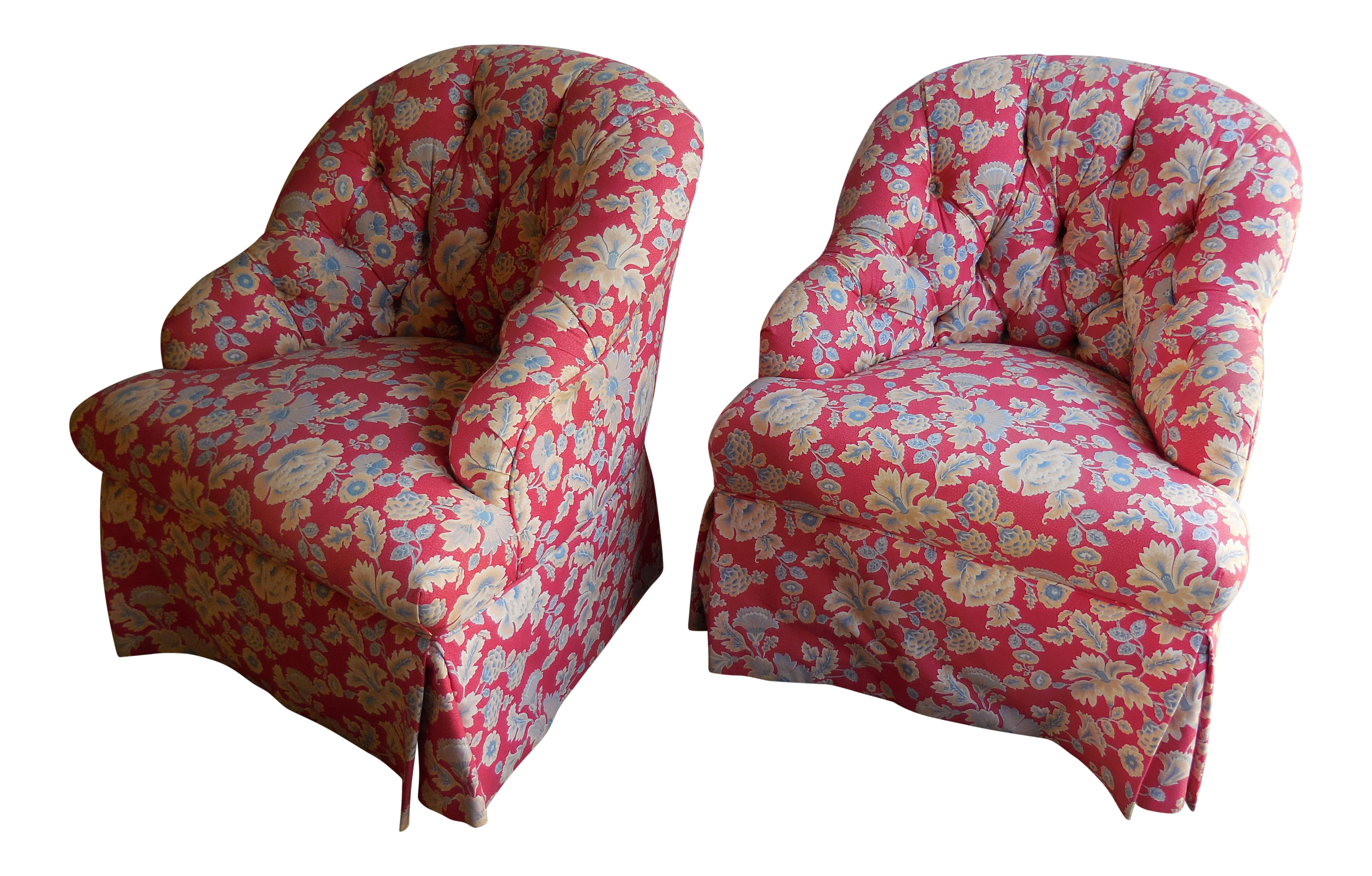 1950s Accent Chairs.1950s Floral Accent Chairs A Pair