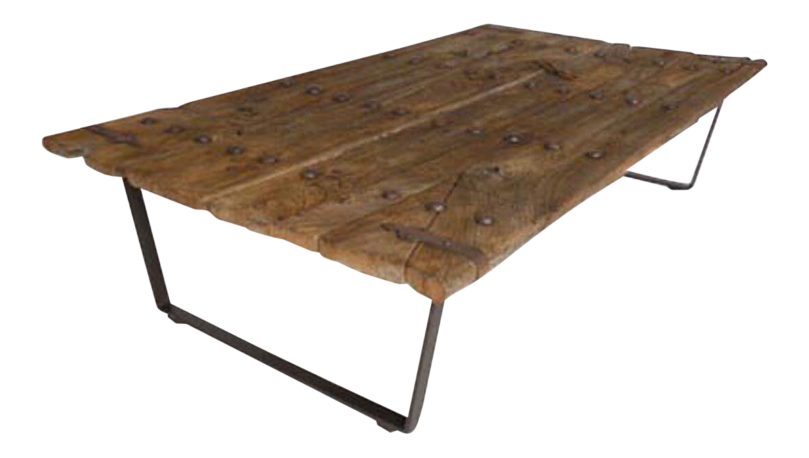 High End Early Japanese Elm Door Coffee Table With Iron Nails On Custom Base