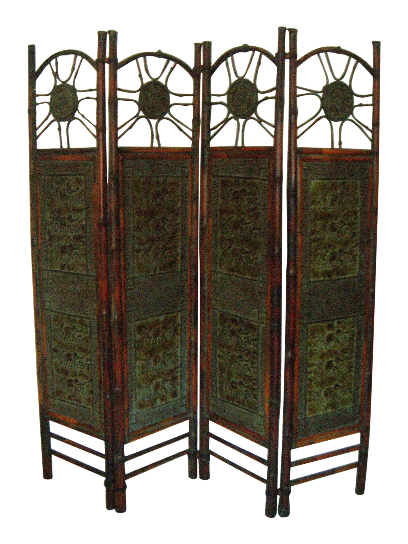 Oriental Elephant & Bamboo Room Divider | Chairish