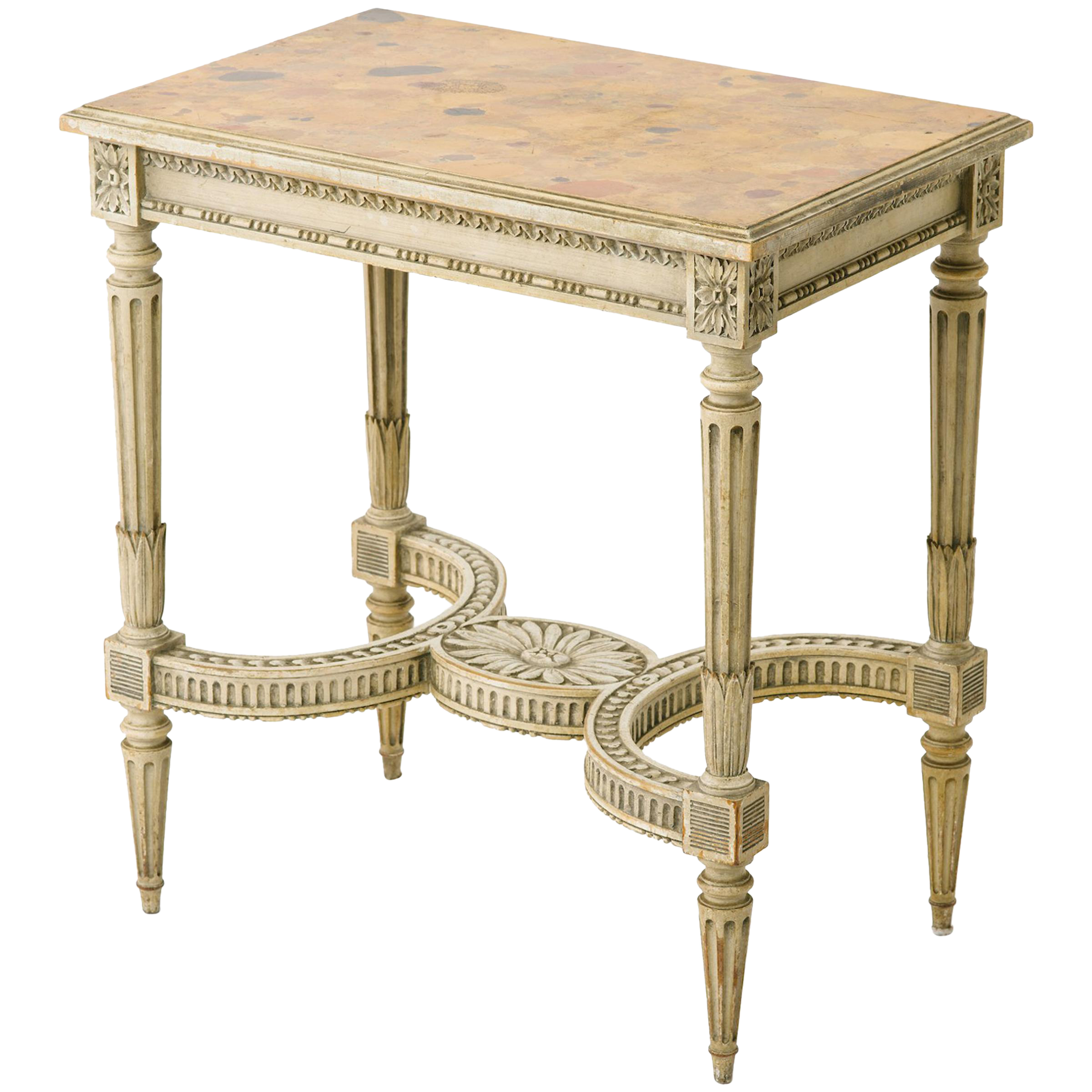 1950s French Carved Side Table With Faux Marble Top