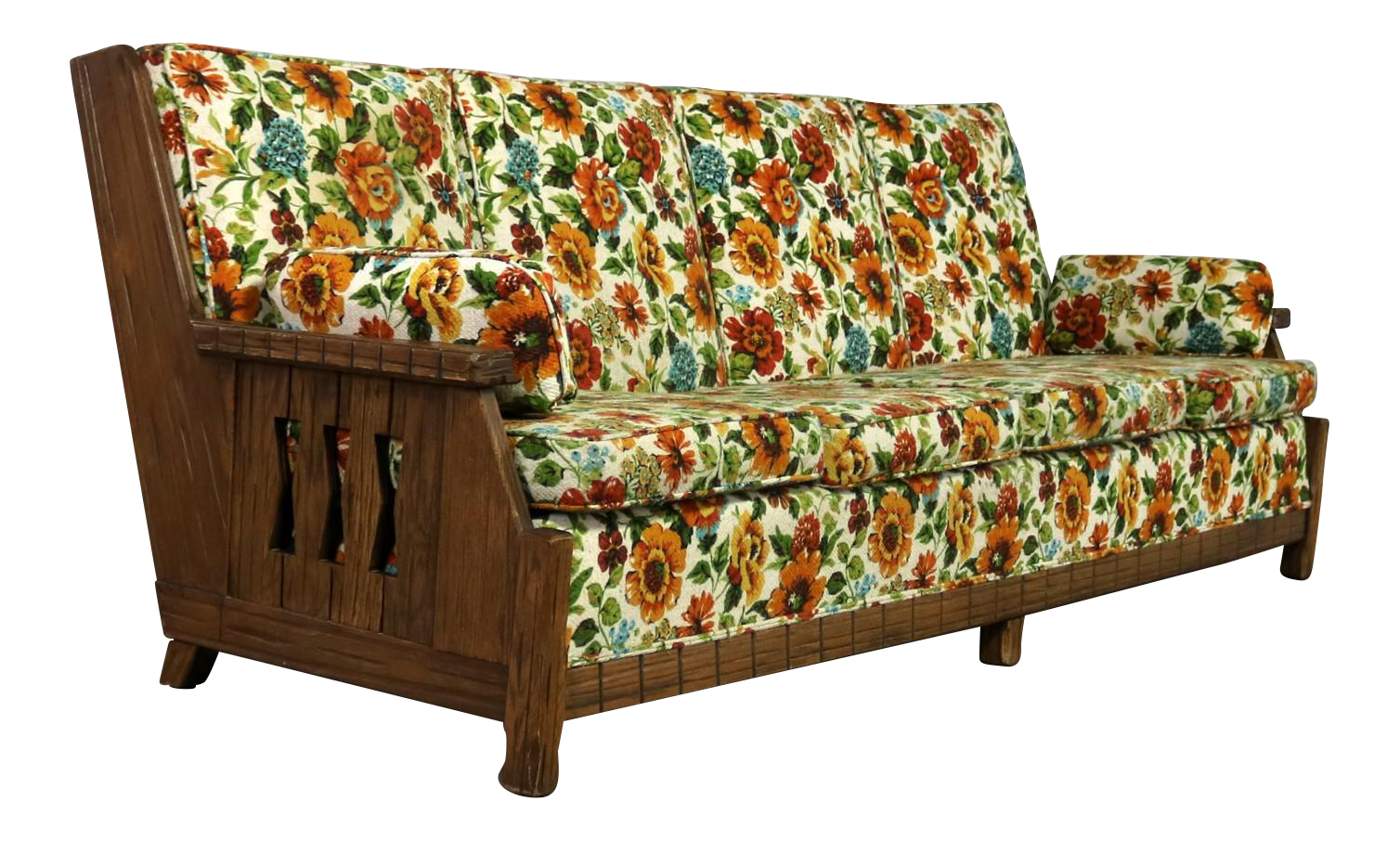 Ranch Oak Western Style Sofa Attributed To A Brandt Company Chairish