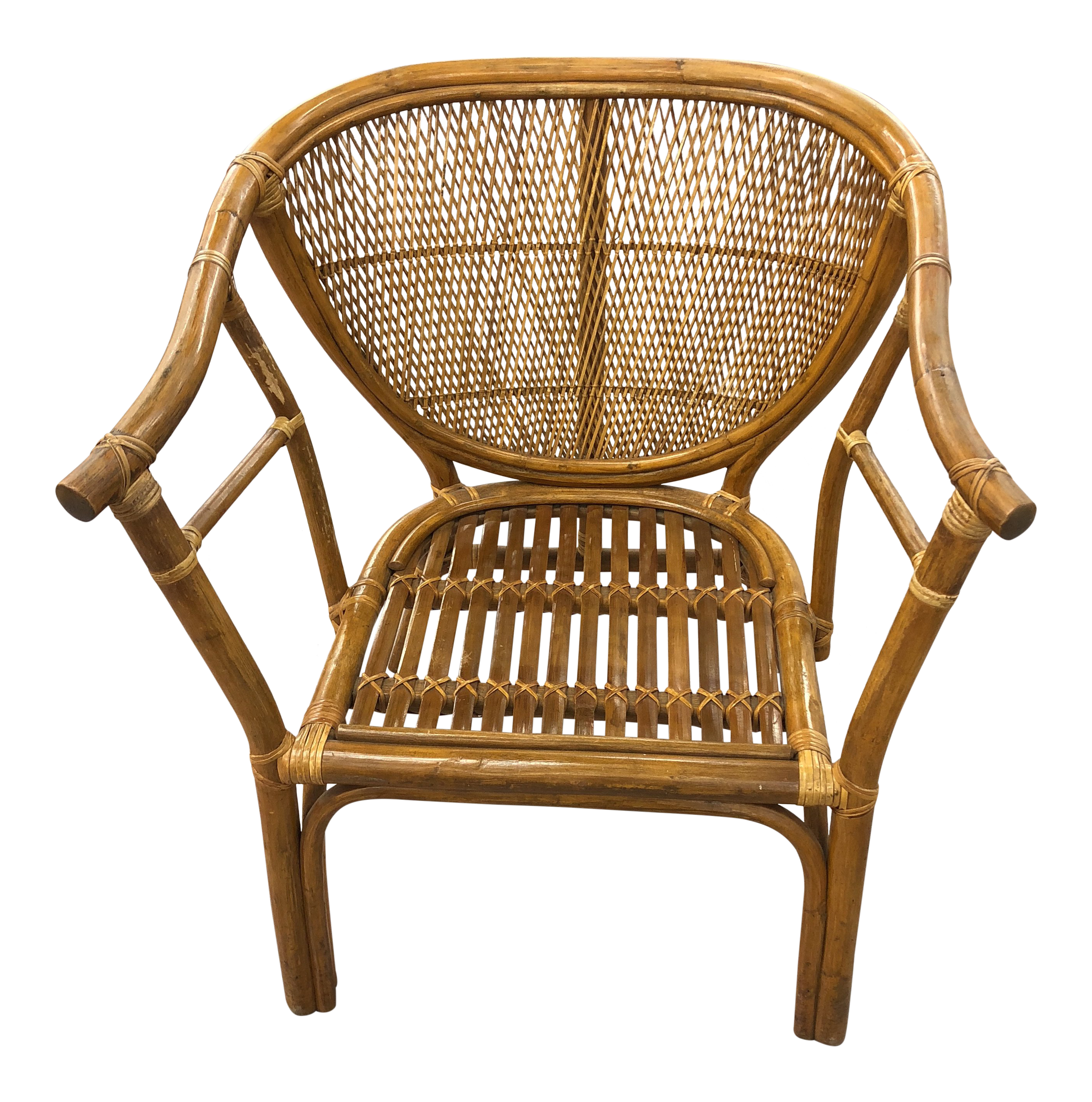 Exceptional 4 Vintage Midcentury Rattan Chairs | DECASO