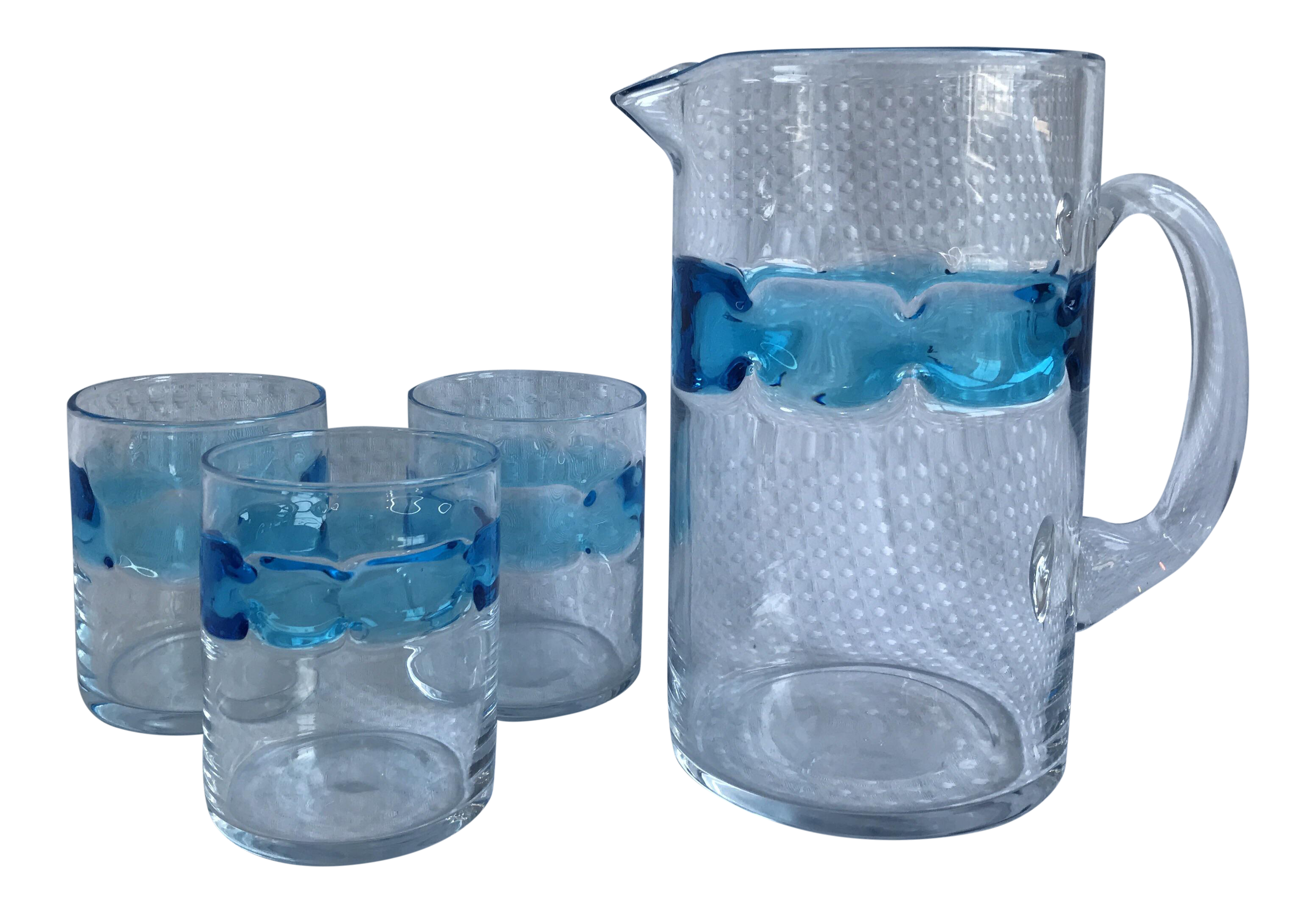 Hand blown blue glass pitcher glasses set of 4 chairish for Kitchen cabinet trends 2018 combined with hand blown glass wall art