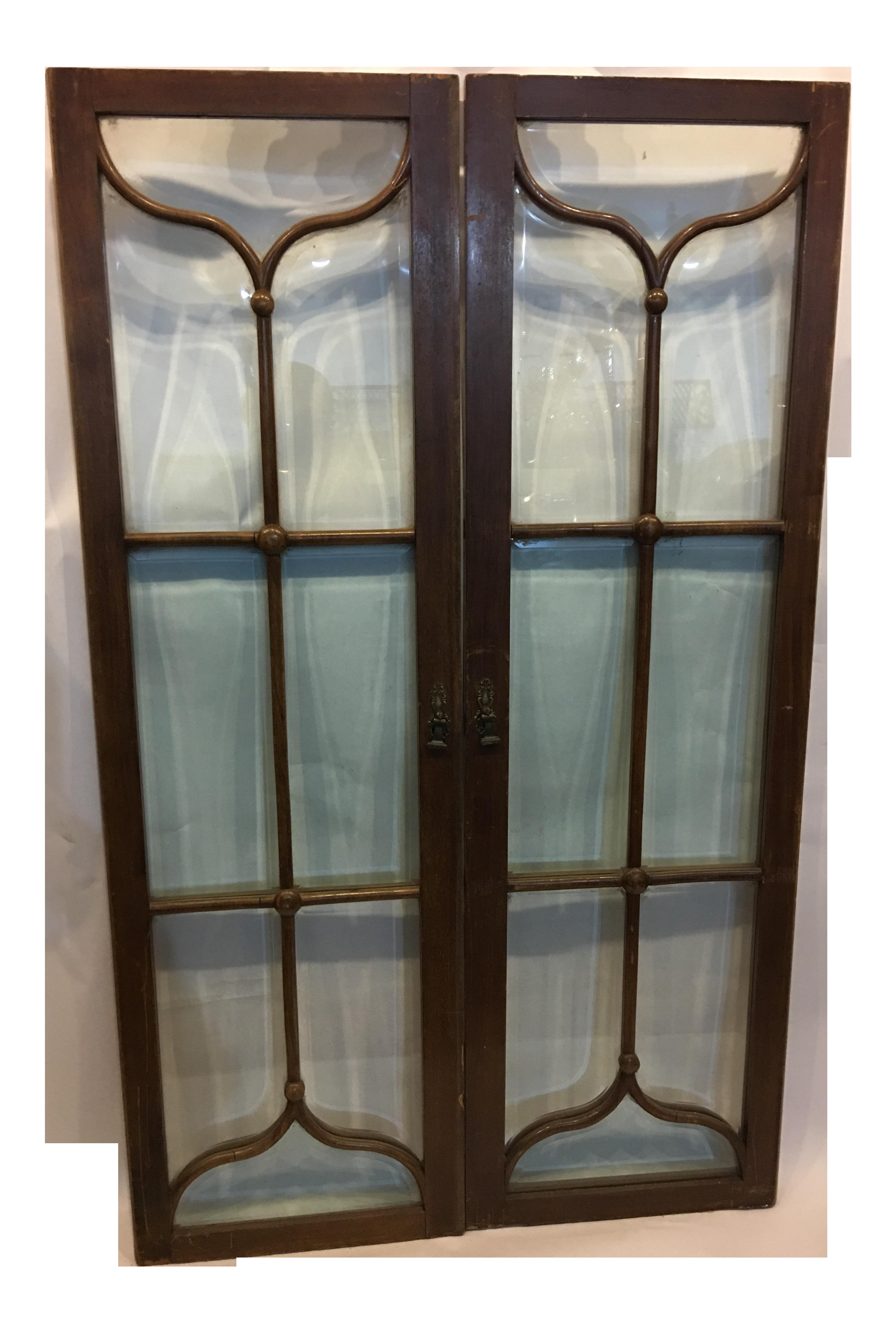 Edwardian Mahogany Beveled Glass Doors A Pair Chairish