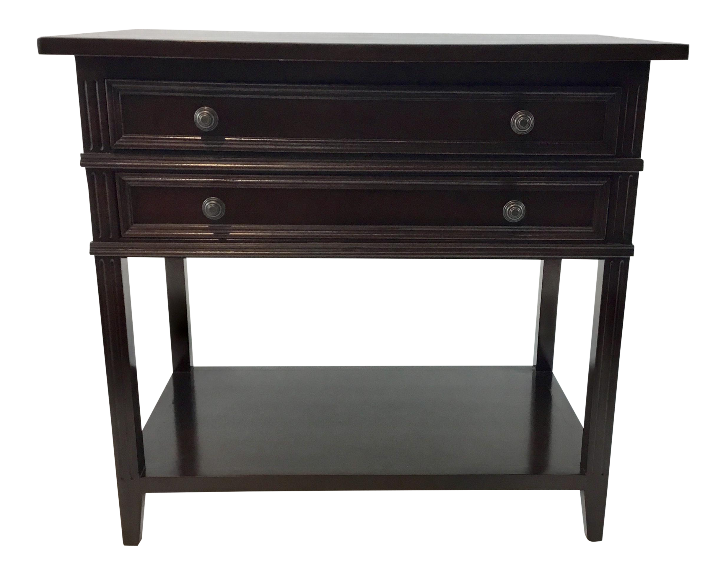 Bon Dark Wood Two Drawer Transitional Side Table/Nightstand | Chairish