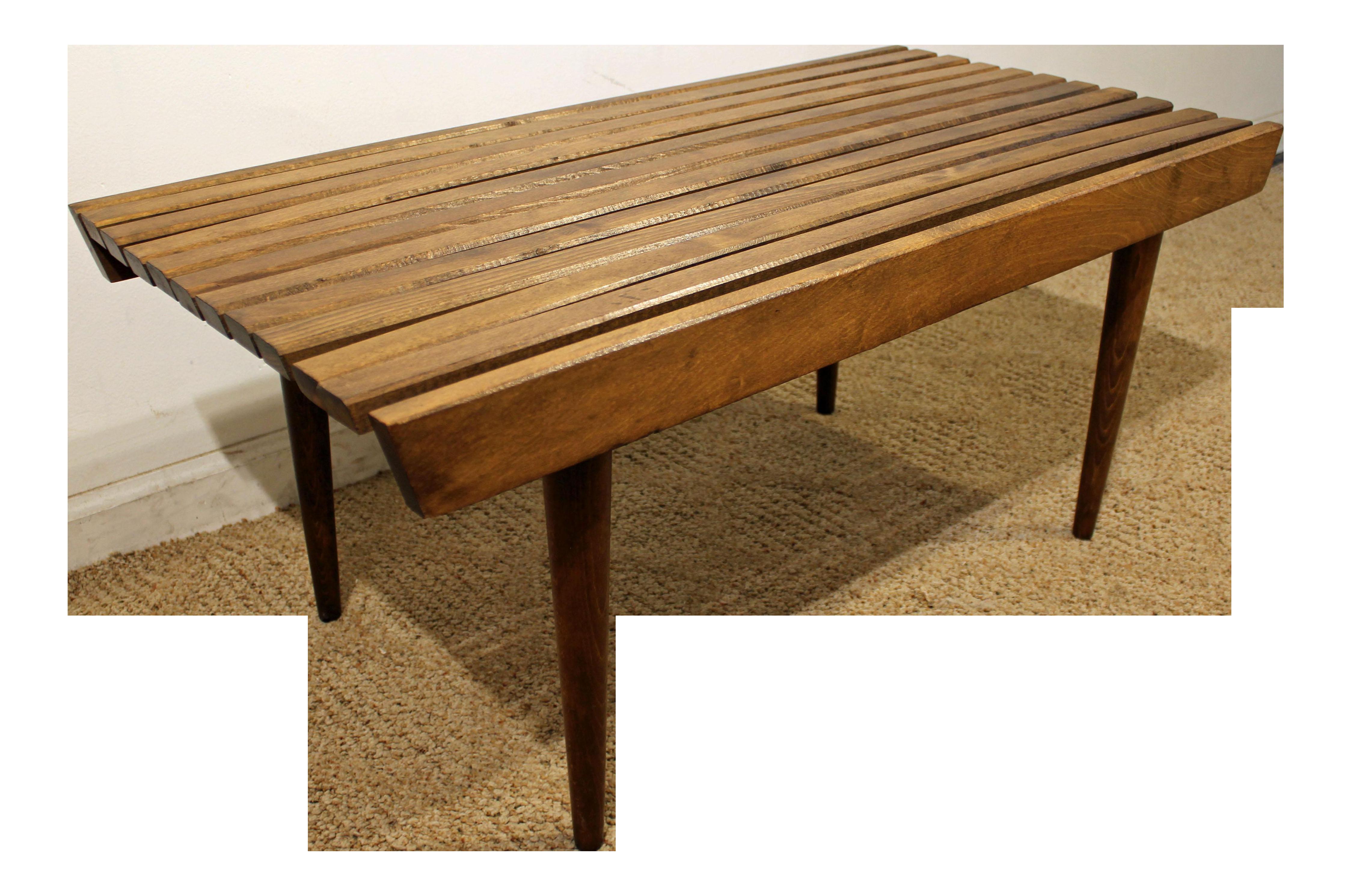 Mid Century Danish Modern Walnut Slat Bench Coffee Table