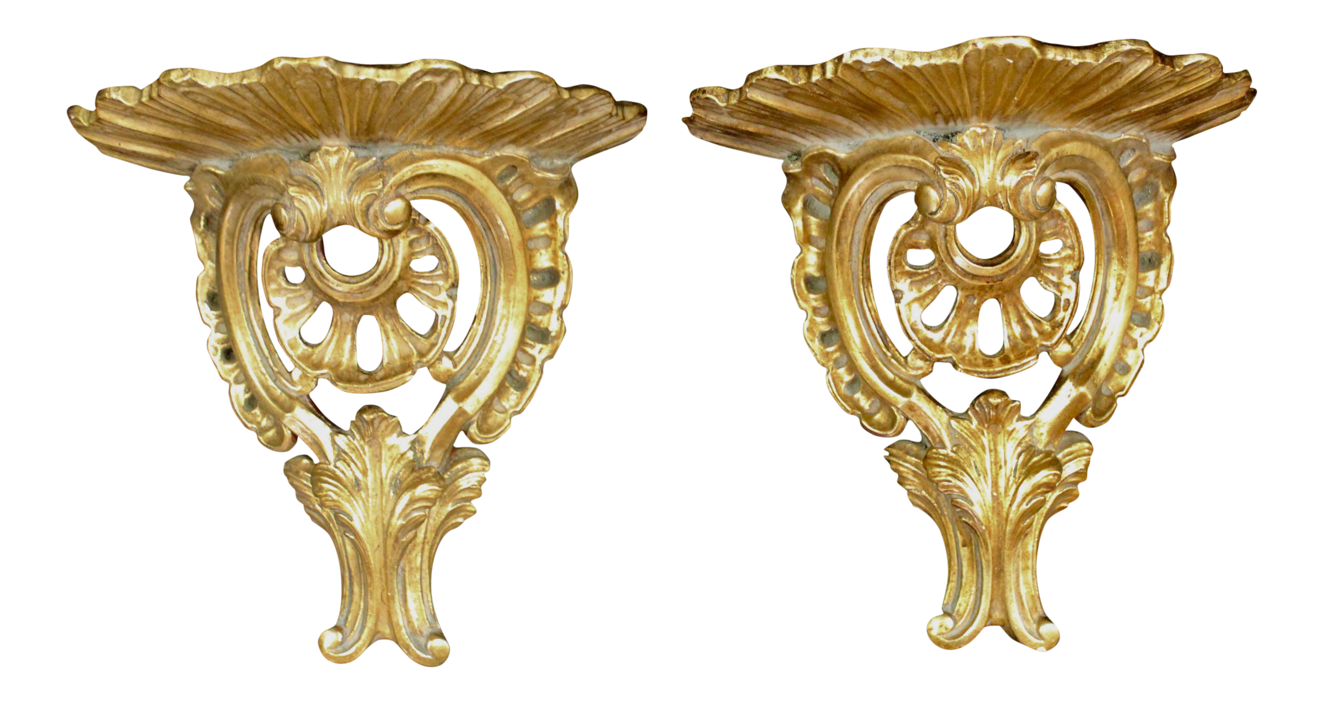 Gilded Plaster Wall Brackets - a Pair | Chairish
