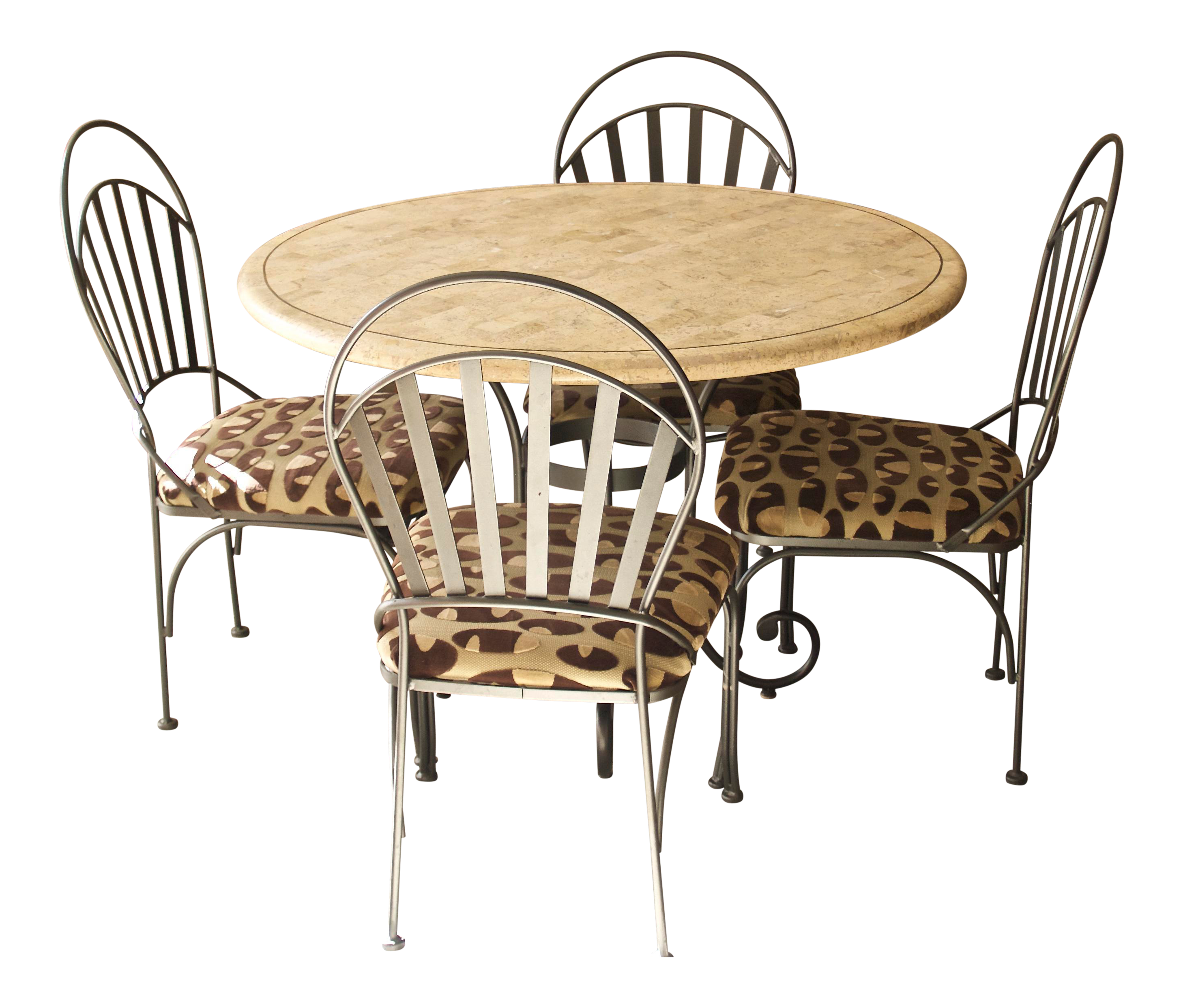 Transitional powder coated iron travertine dinette table chairs set chairish