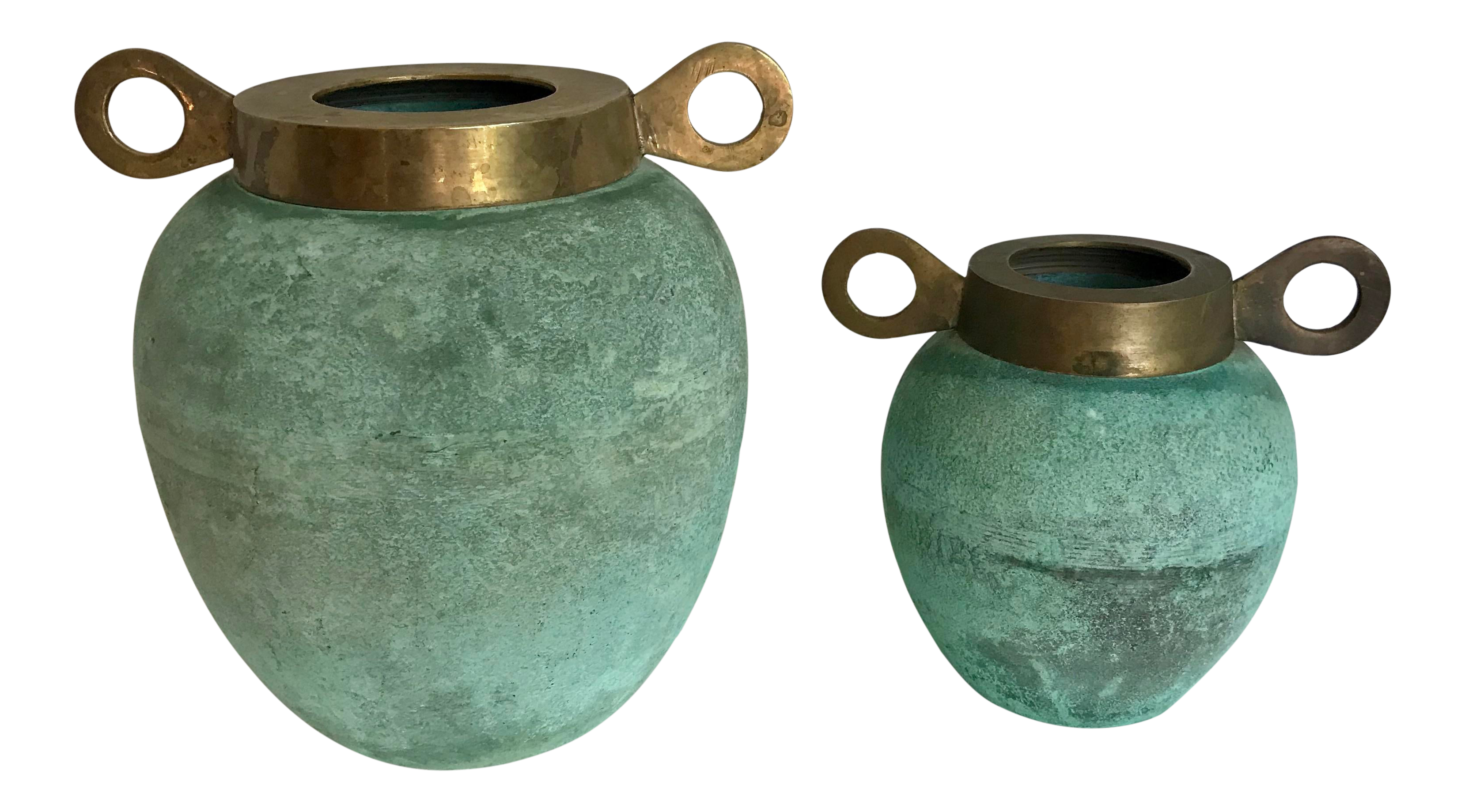 """Pair Vintage Brass Small 5.75"""" Vases Made in India"""