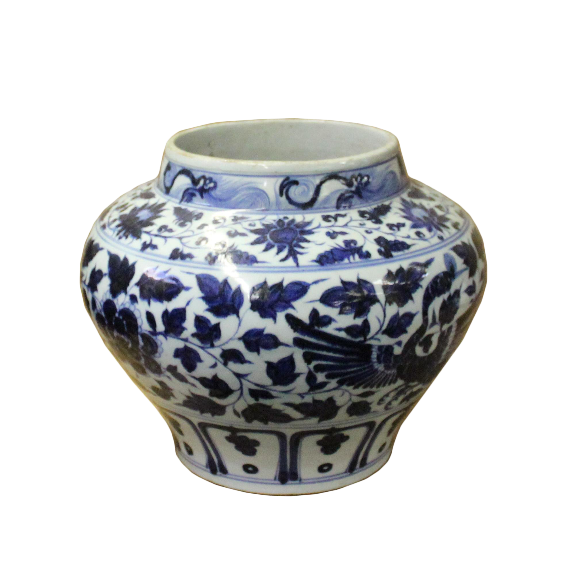 Chinese Blue White Porcelain Graphic Fat Body Vase Jar Chairish
