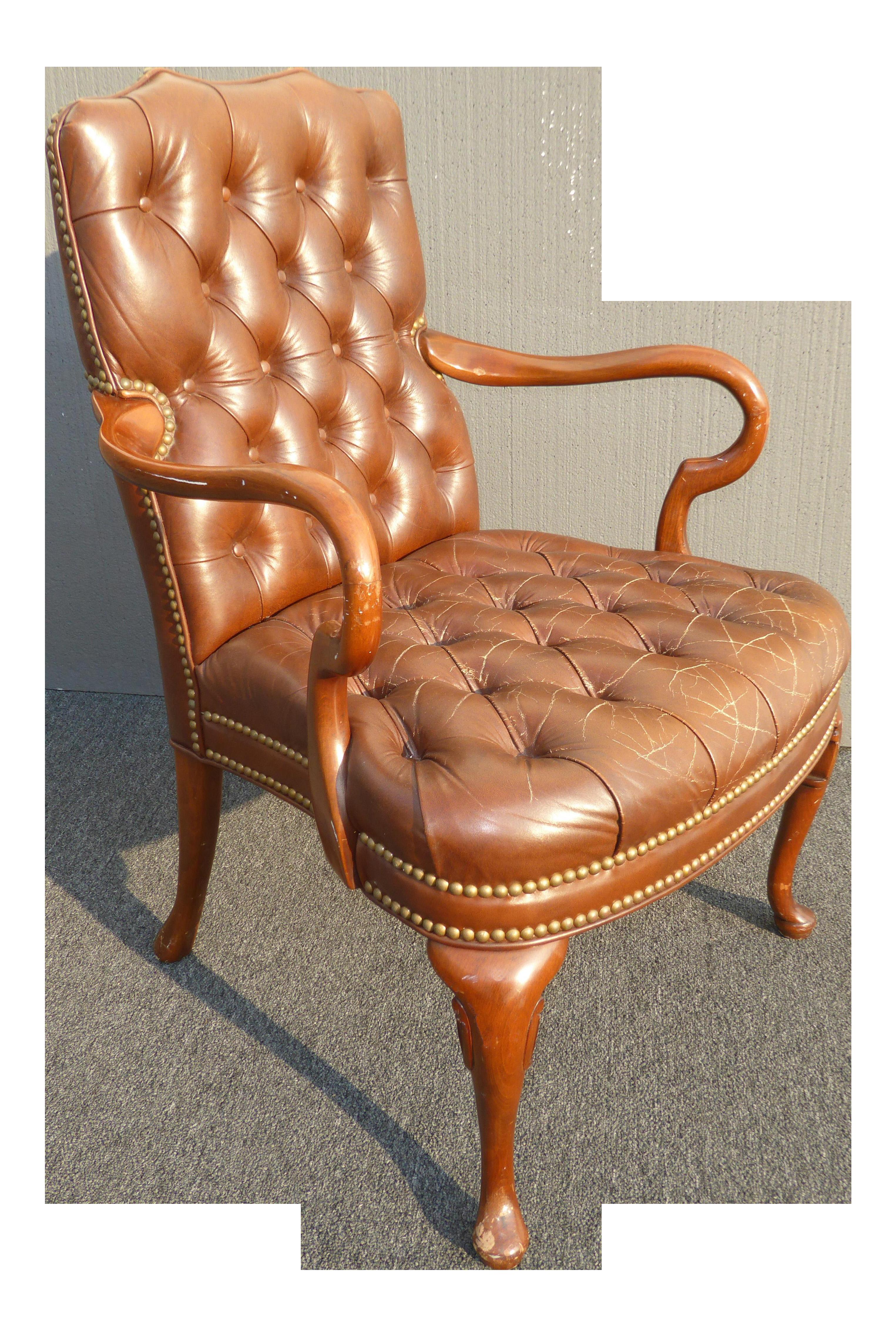 Strange Vintage Schafer Bros Tufted Burnt Orange Leather Accent Chair Machost Co Dining Chair Design Ideas Machostcouk