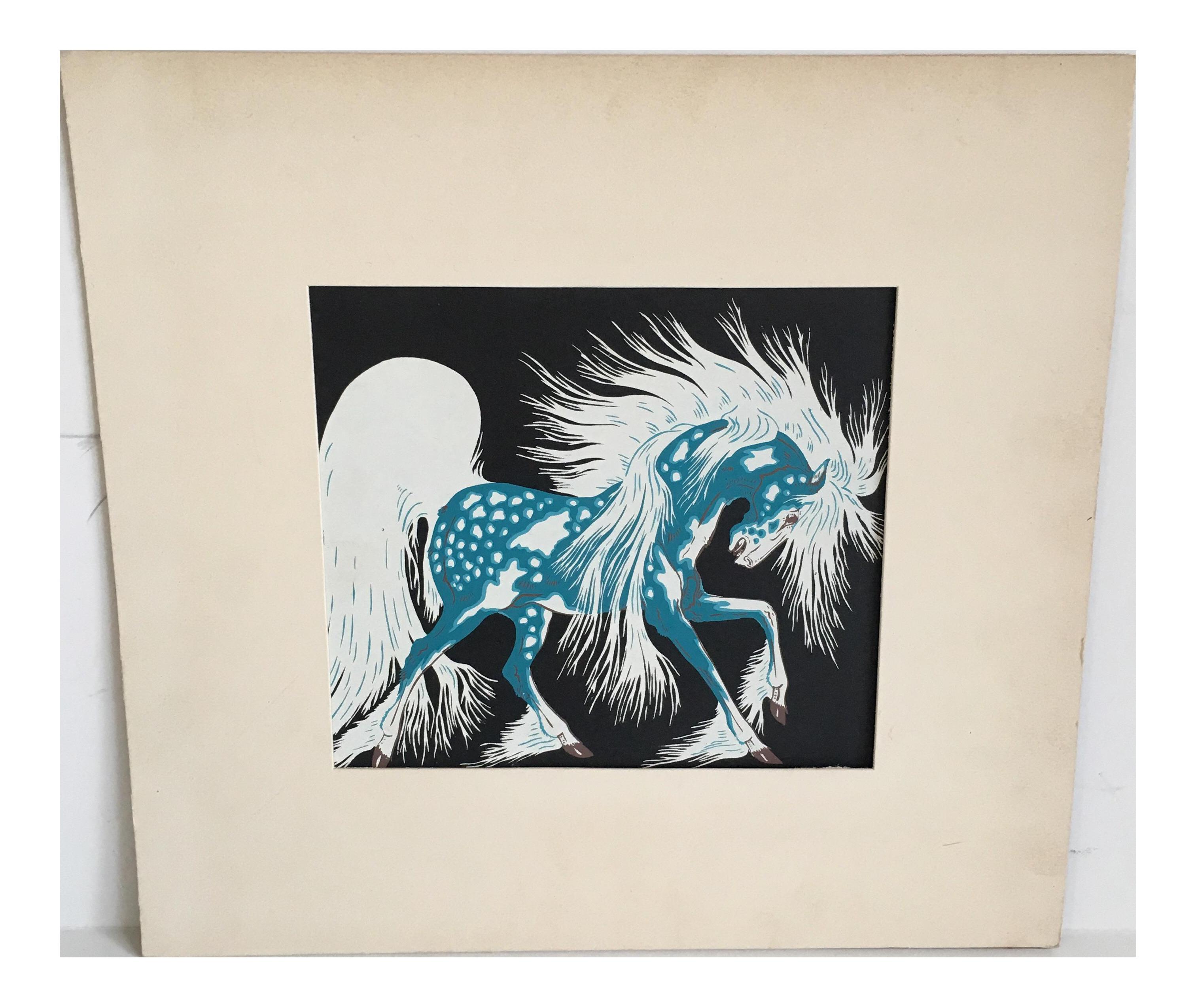 Vintage Woody Crumbo Blue Spirit Horse Serigraph | Chairish