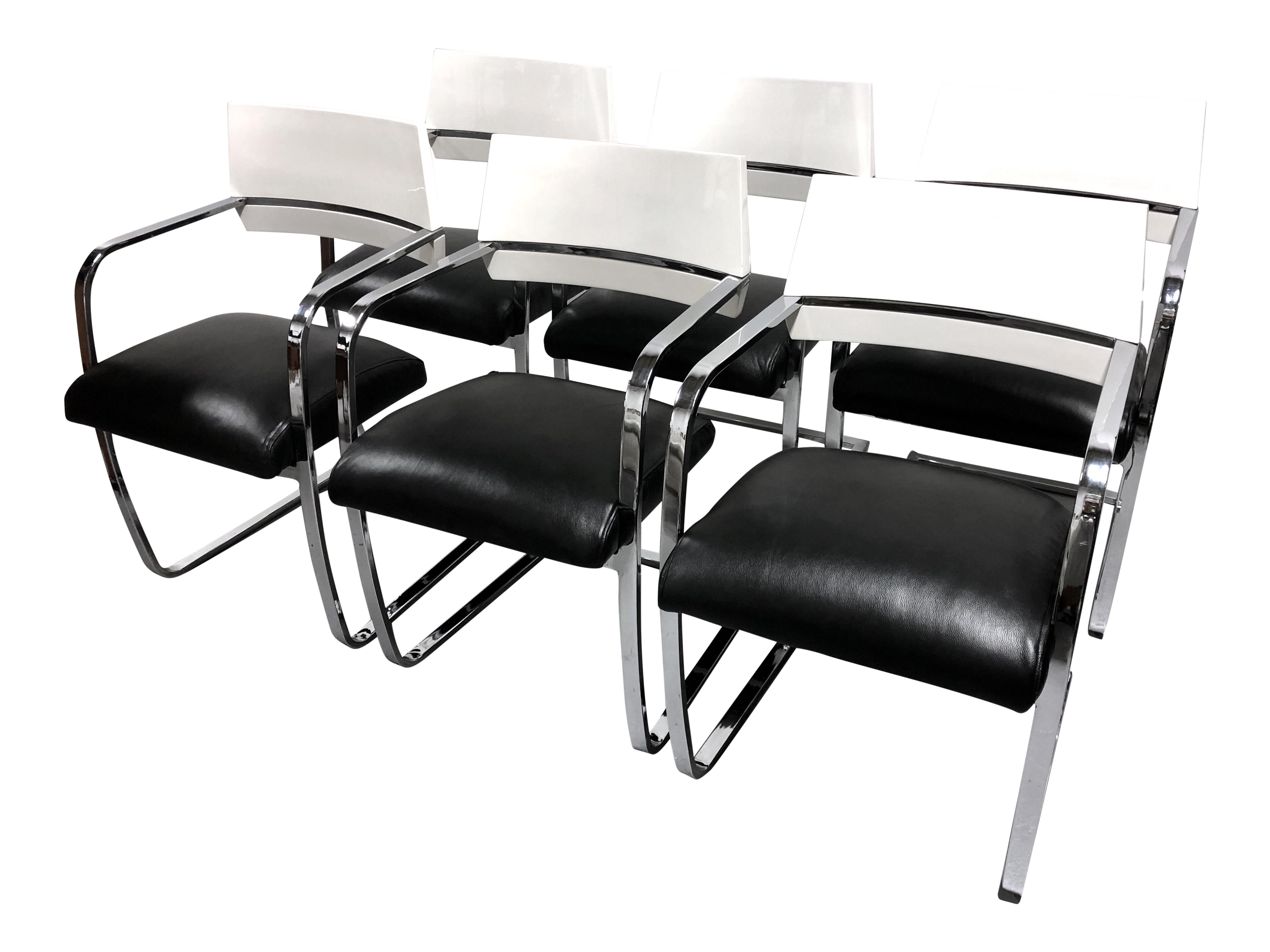 Excellent Vintage Modern Chrome White Lacquered Wood Brno Style Leather Dining Chairsset Of 6 Caraccident5 Cool Chair Designs And Ideas Caraccident5Info