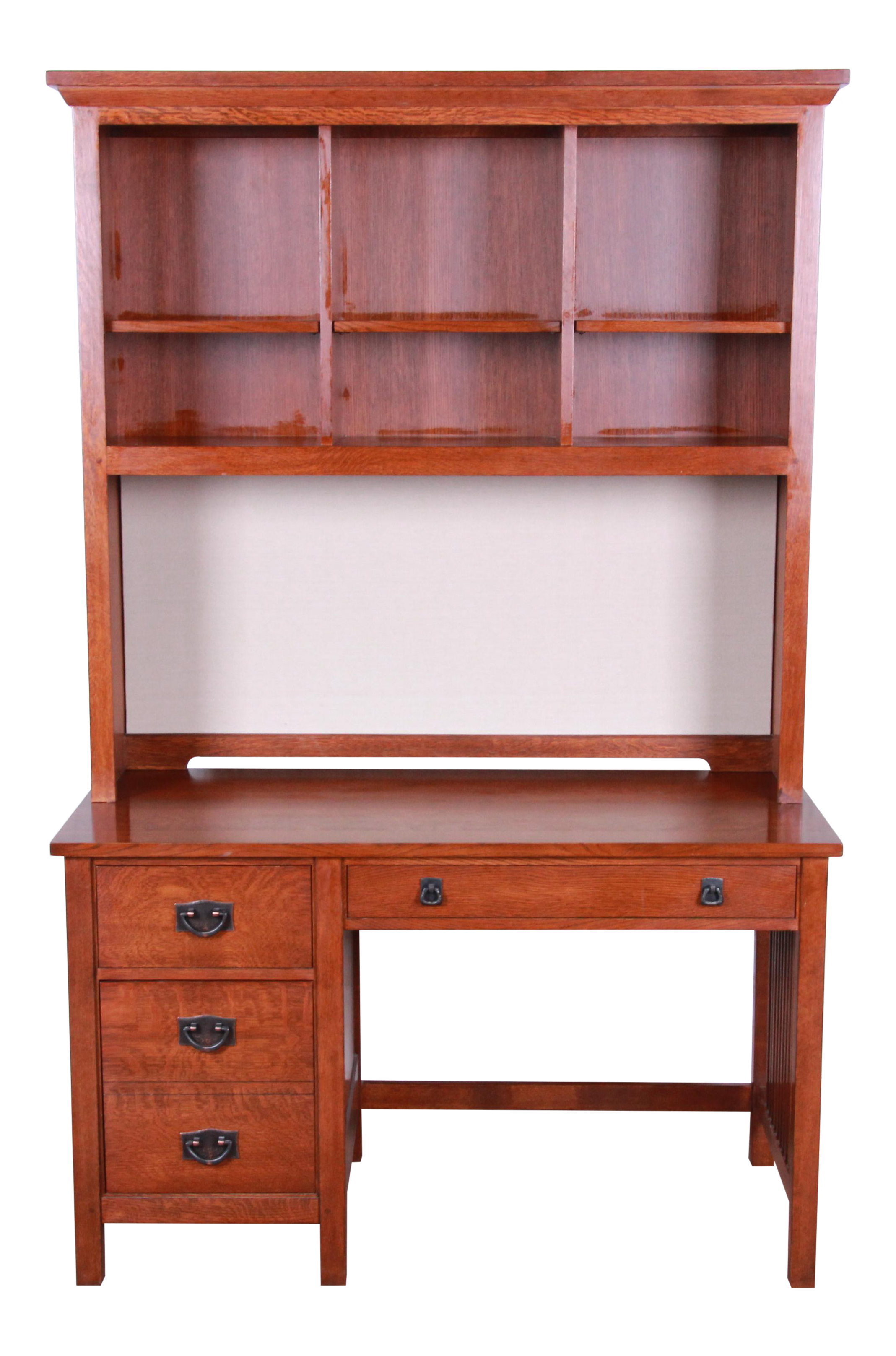 Stickley Mission Oak Desk With Lighted Hutch Top, 1990s