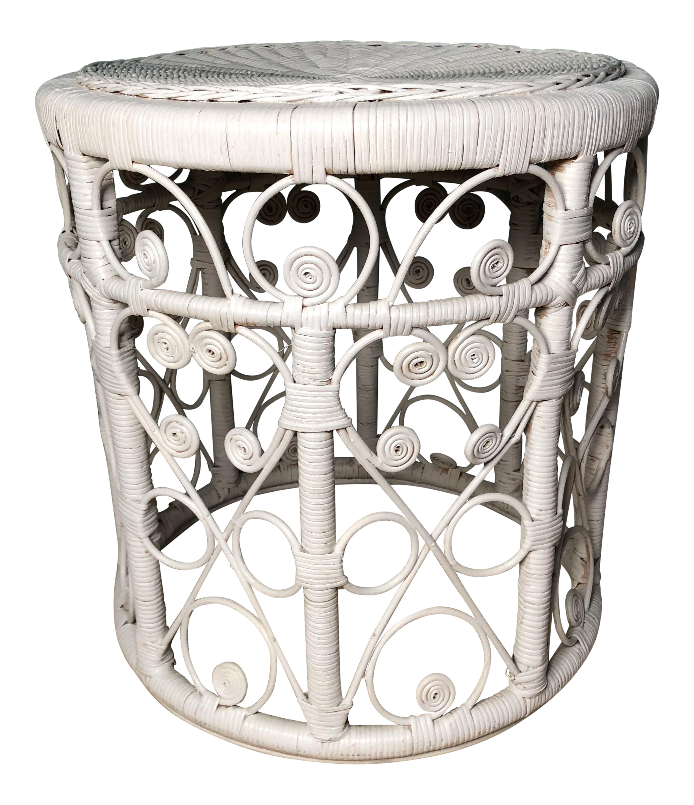 Boho Chic White Victorian Curlee Cue Rattan Vintage Wicker Side