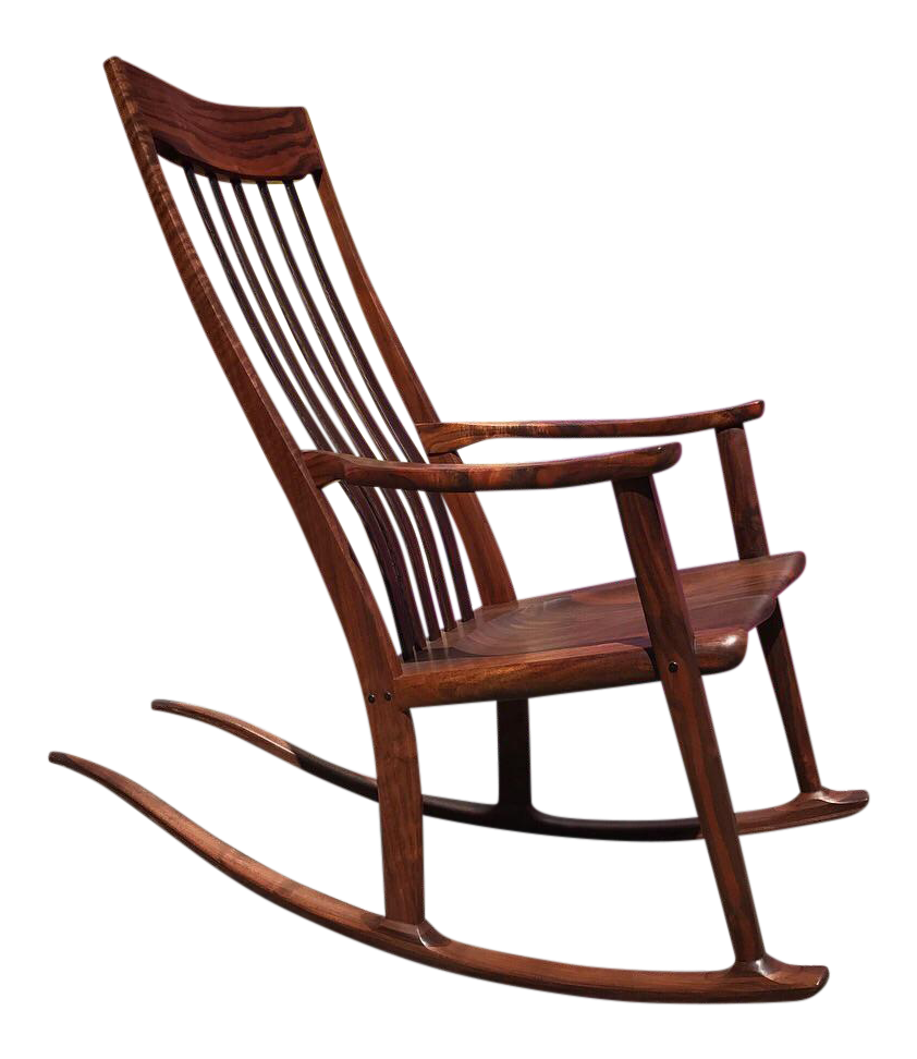 Claro Walnut Rocking Chair by Anthony Kahn - Vintage & Used Mission Rocking Chairs Chairish