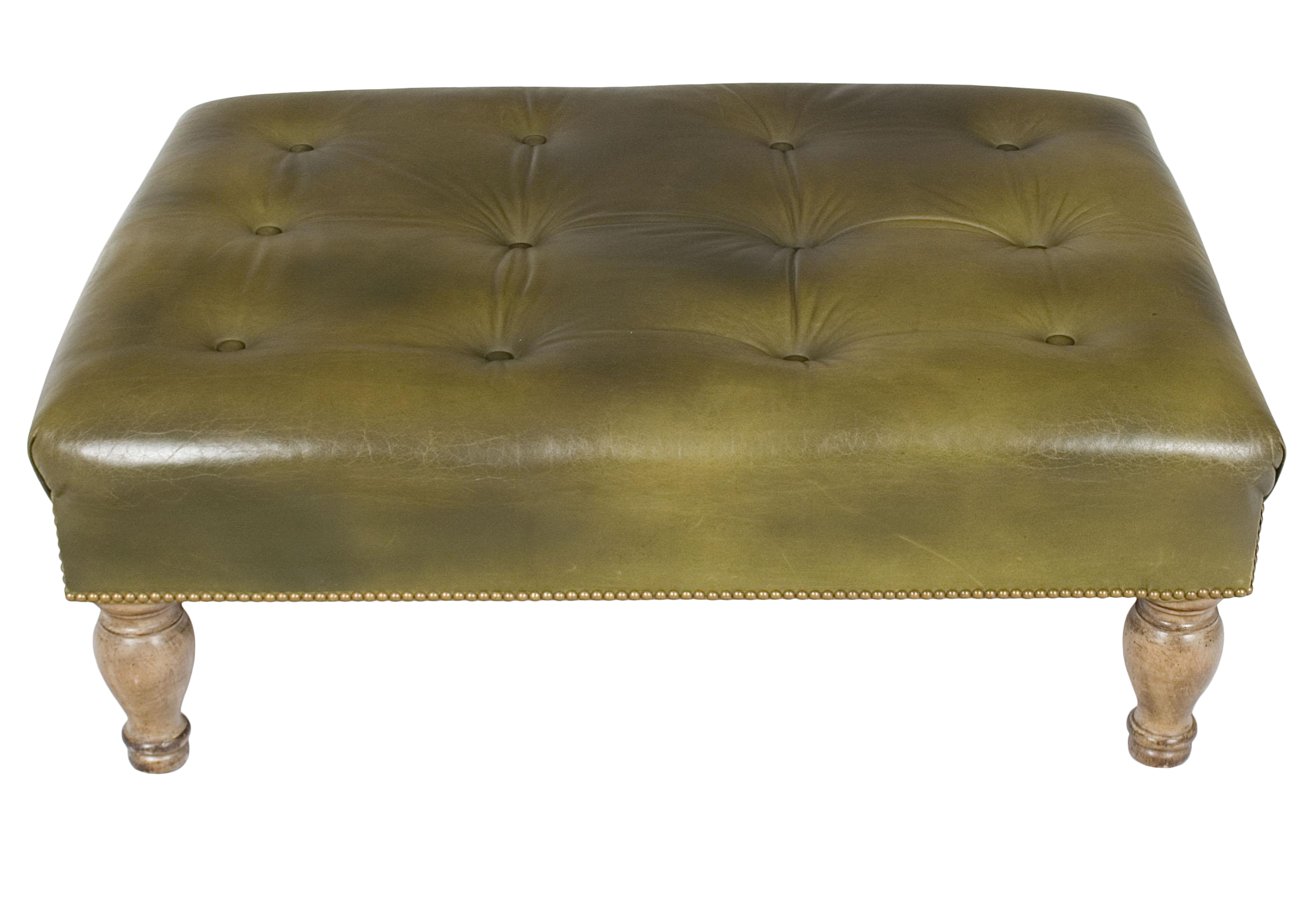 Excellent 1960S Tufted Green Leather Large Ottoman Footstool Alphanode Cool Chair Designs And Ideas Alphanodeonline