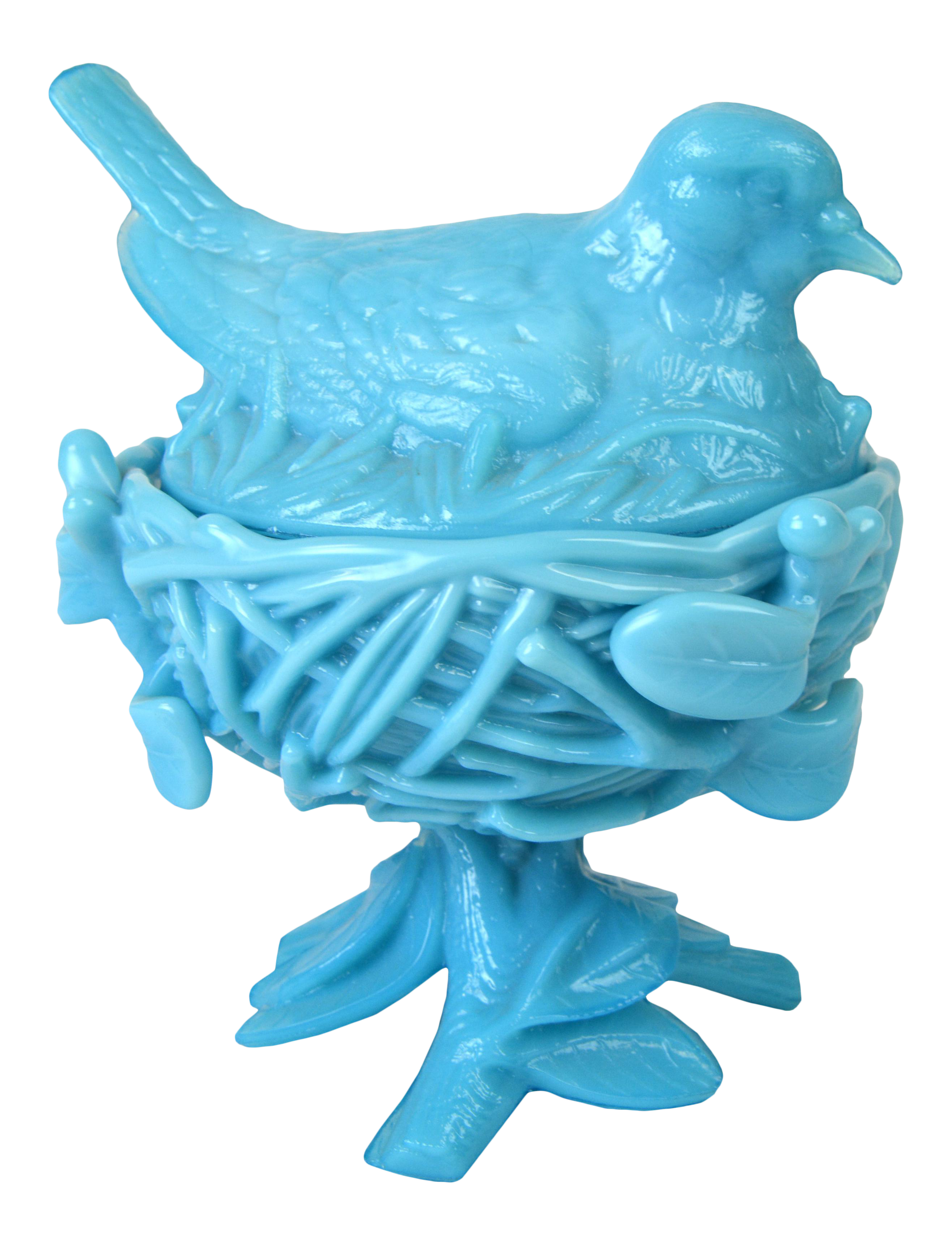 Vintage Turquoise Milk Glass Covered Bird Dish | Chairish