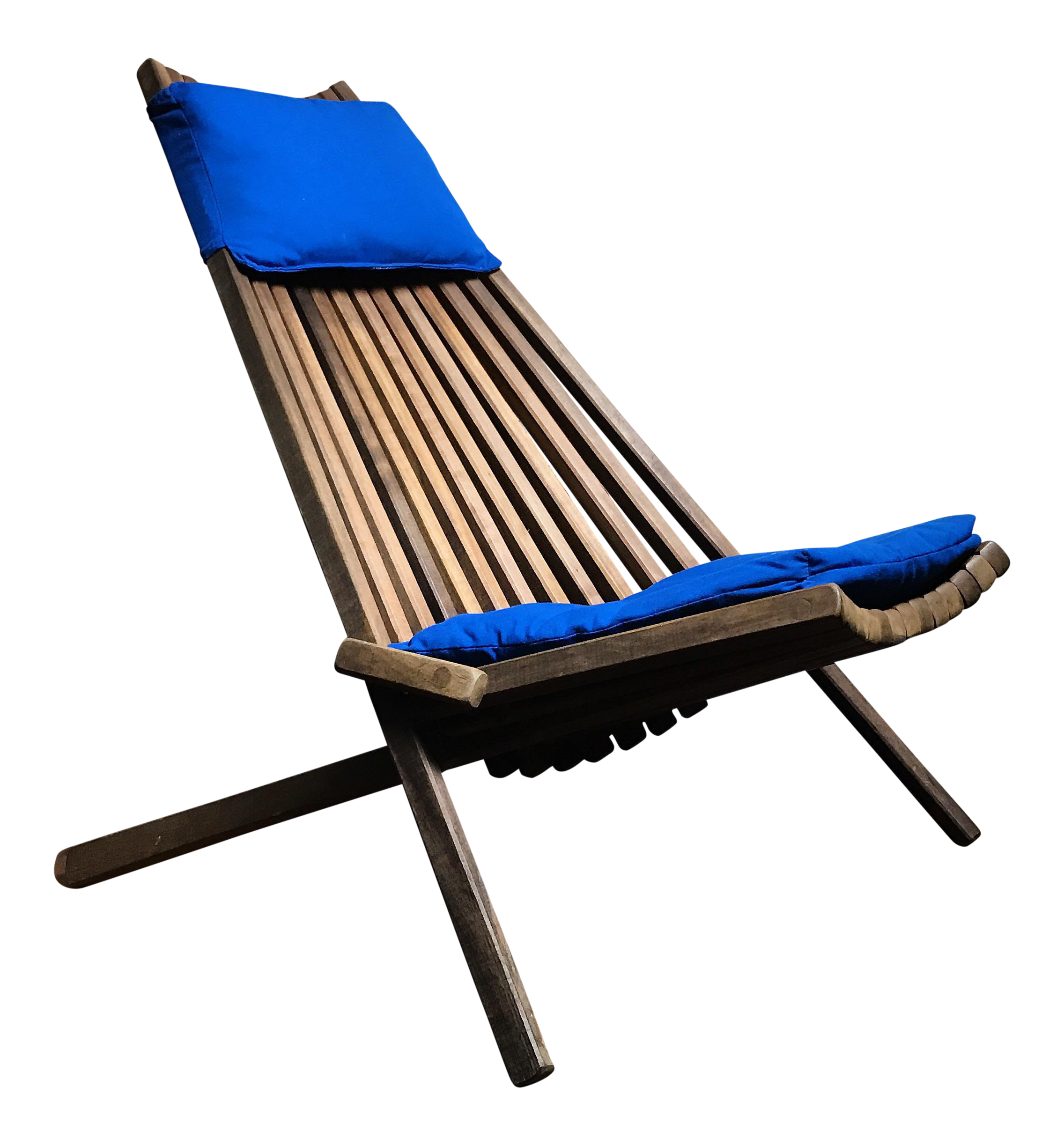 Mid Century Modern Teak Slatted Folding Chair
