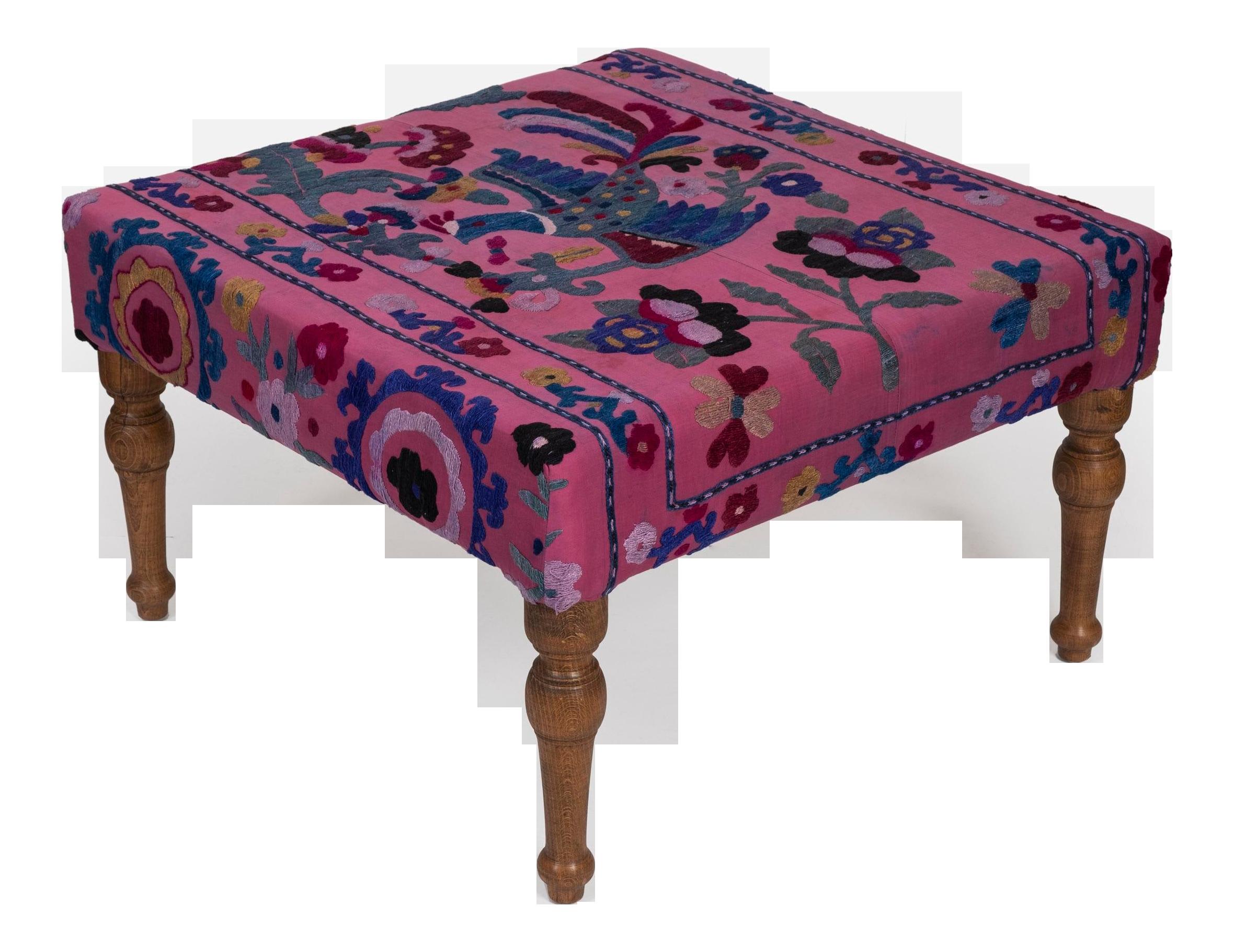 suzani square ottoman coffee table with bird motifs