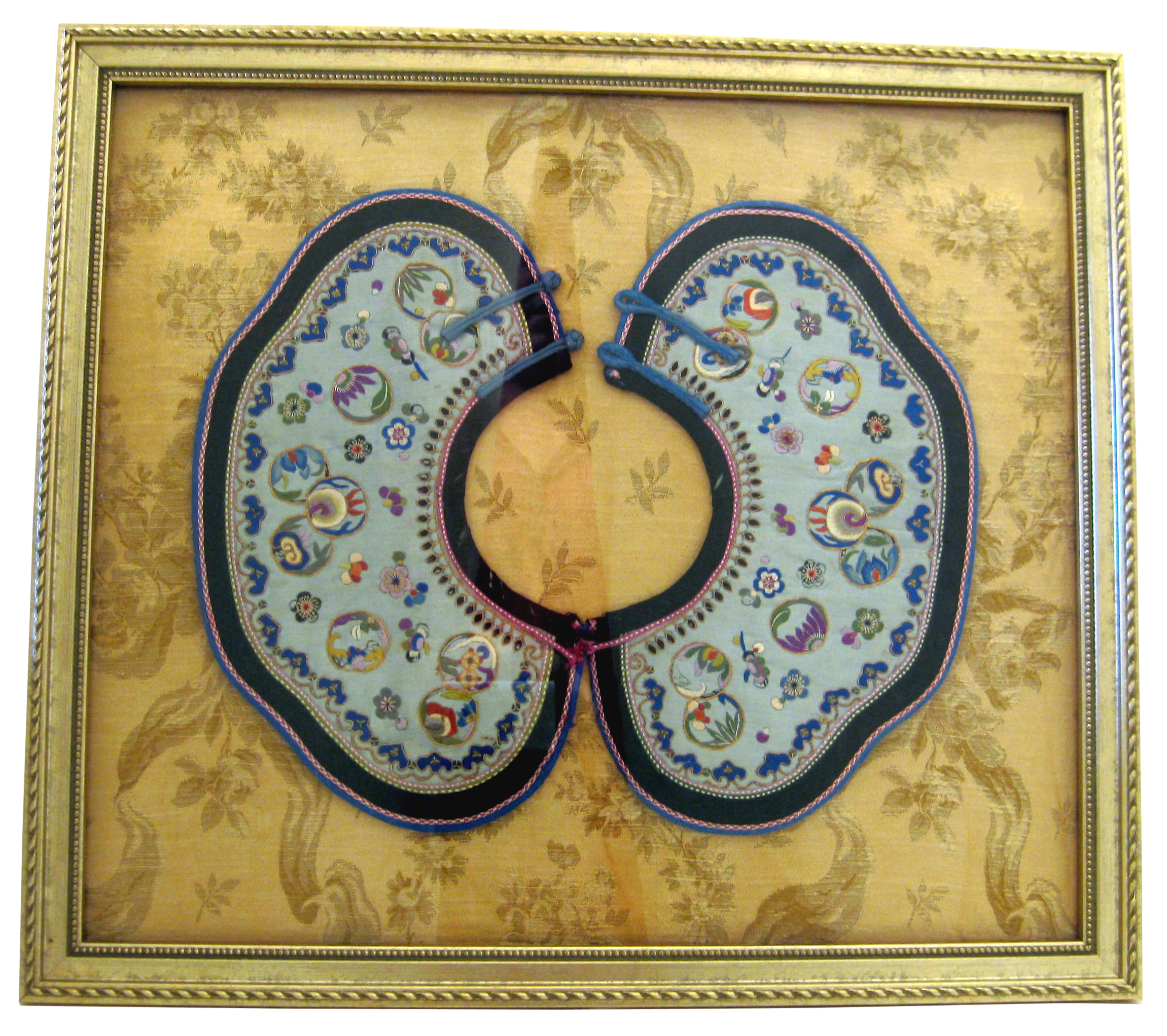 Framed Antique Embroidered Chinese Collar   Chairish