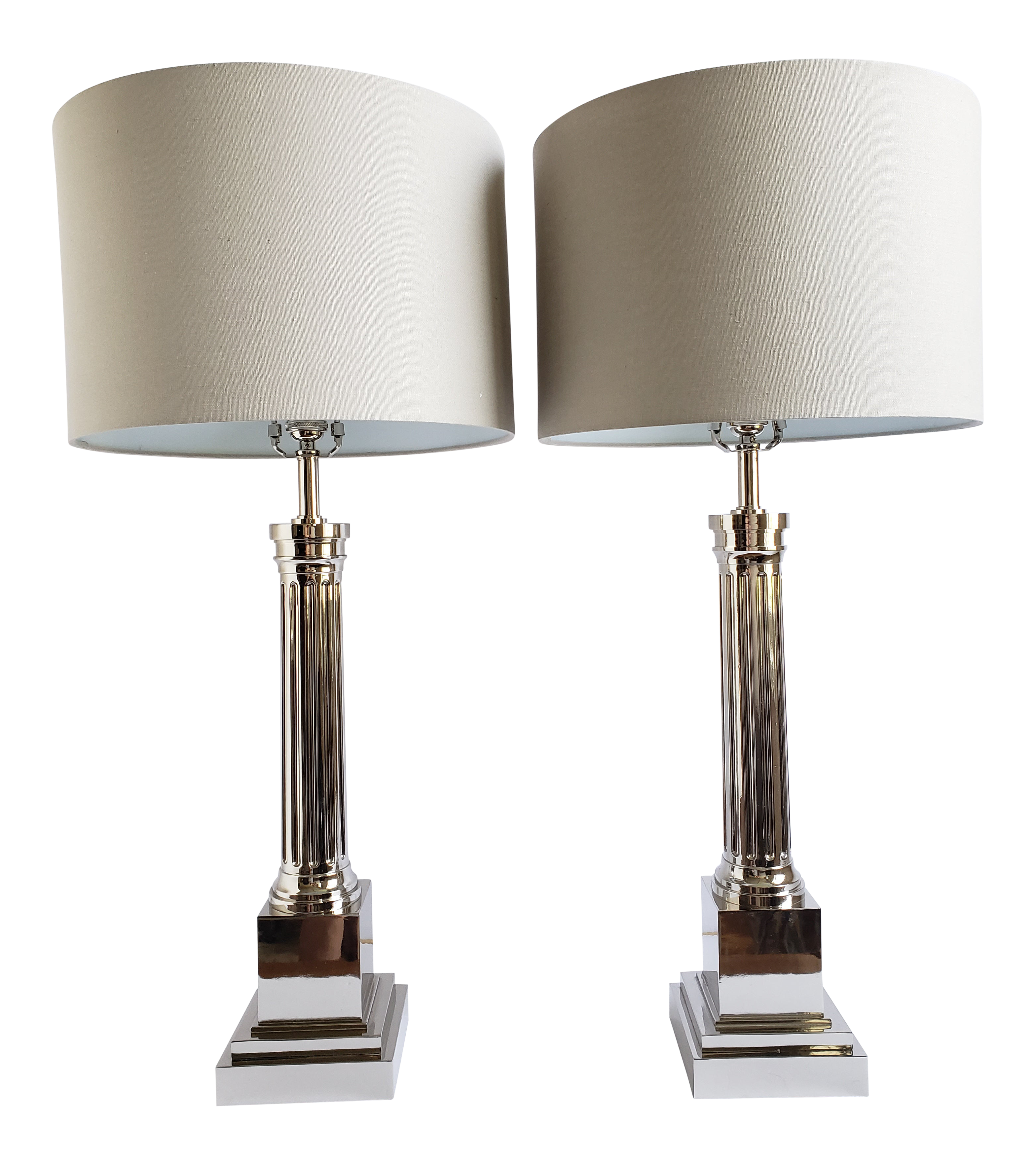 Incredible Contemporary Chrome Plated Tall Table Lamps A Pair Home Remodeling Inspirations Cosmcuboardxyz