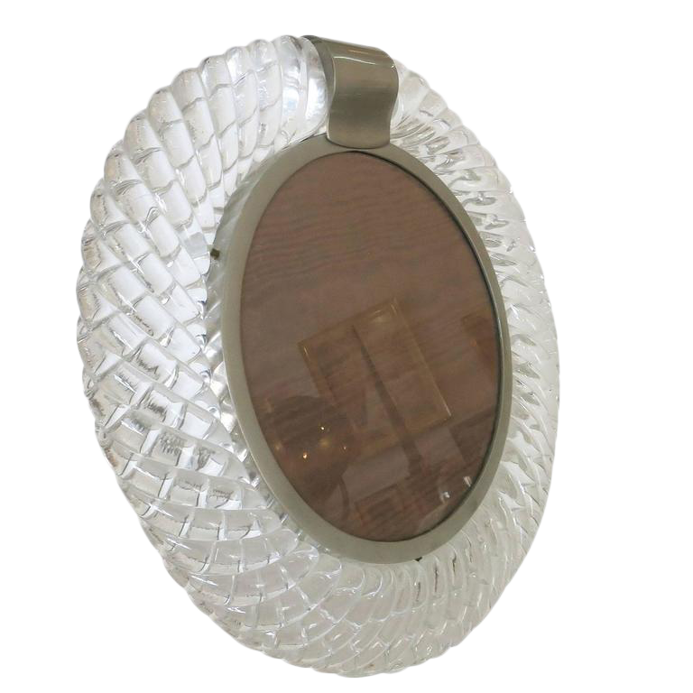 Superb Handblown Murano Glass Frame or Vanity Mirror by Seguso | DECASO