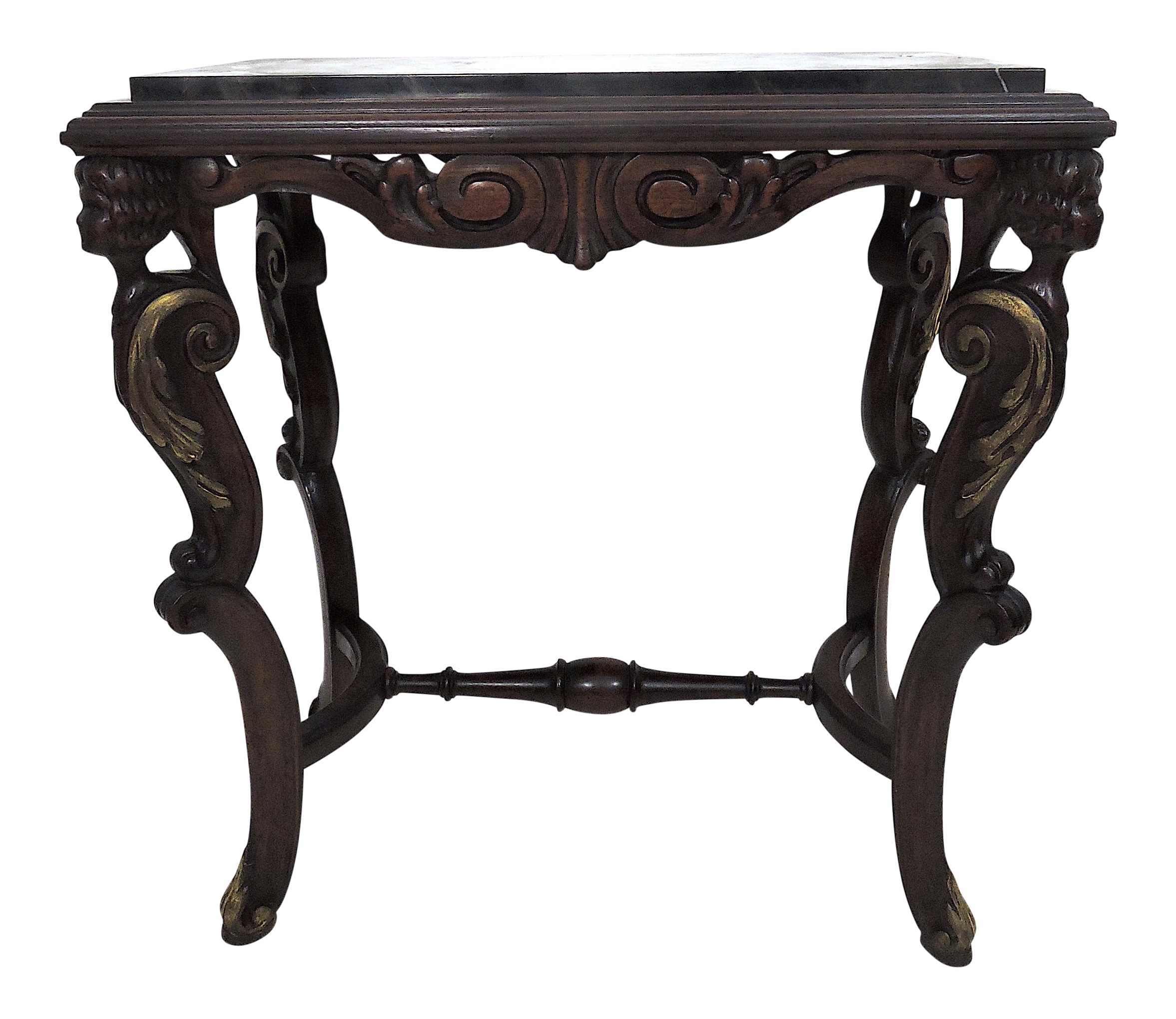Antique Mahogany Black Marble Top Caryatid Console Or Side Table