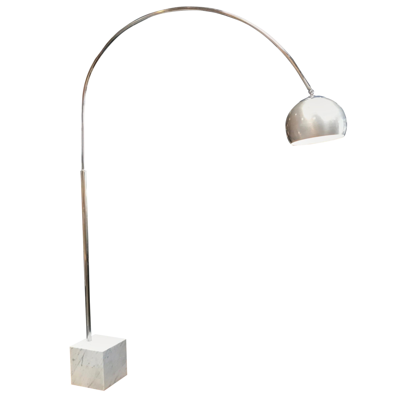 Midcentury Chrome Arc Floor Lamp With Carrara Marble Base Italy 1960s Chairish