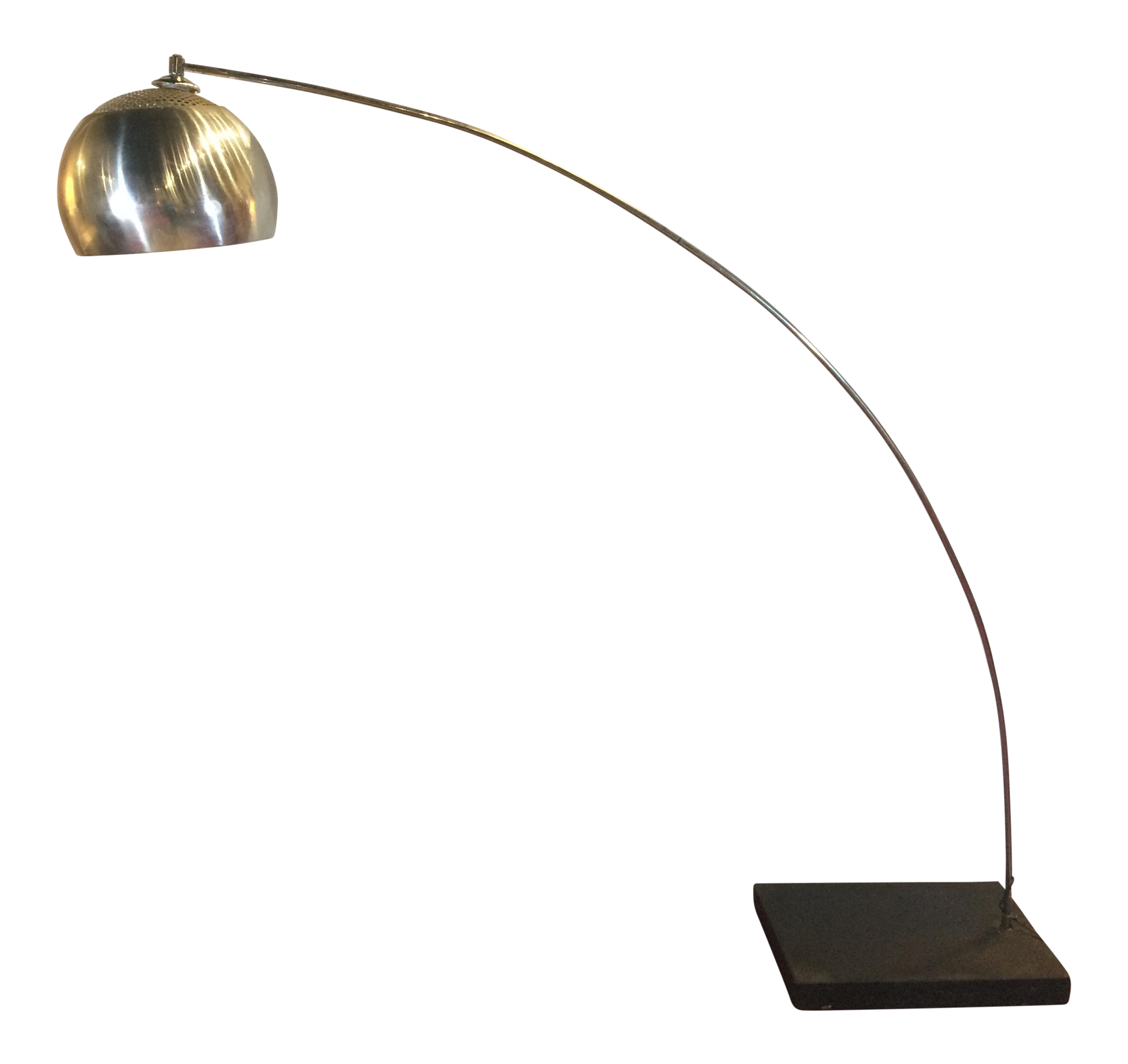 Silver Plated Italian Mid Century Modern Arc Floor Lamp