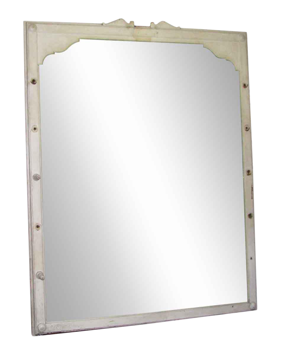 Large Antique Mirror With Wooden Queen Anne Frame   Chairish