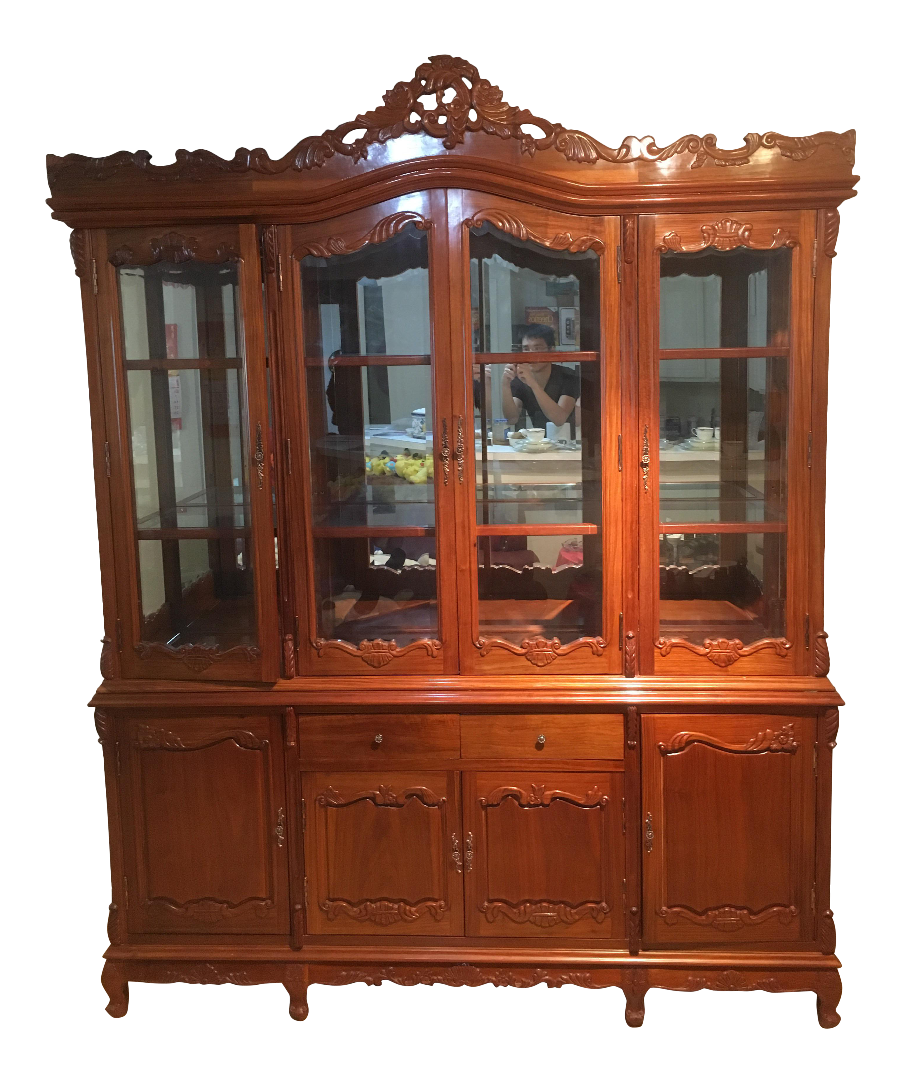 Rosewood China Display Cabinet | Chairish