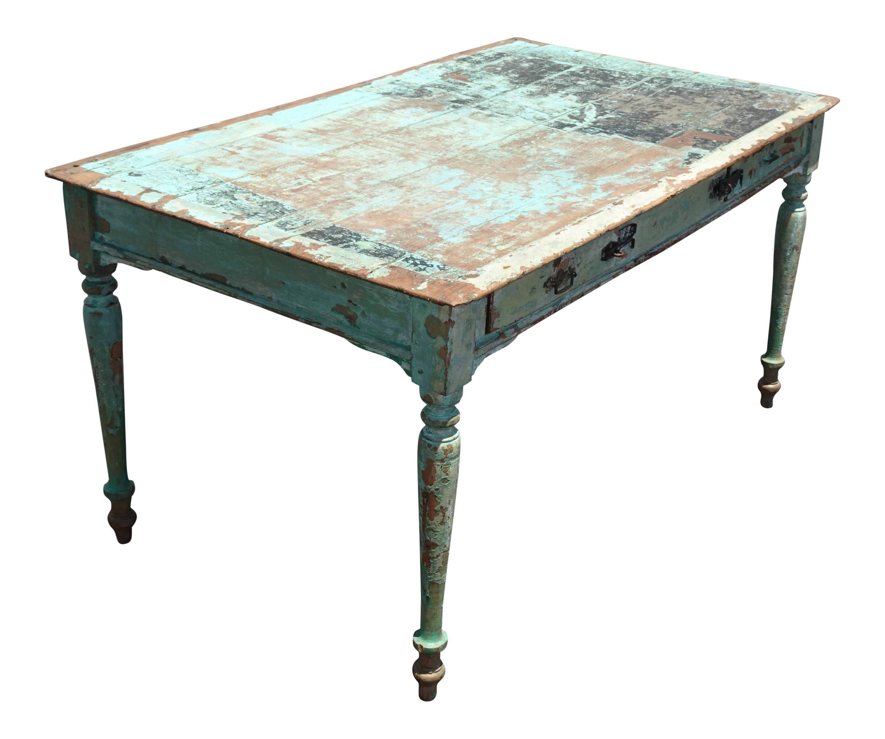 Antique 19th Century French Country Farmhouse Desk Table Distressed Crackle Chairish