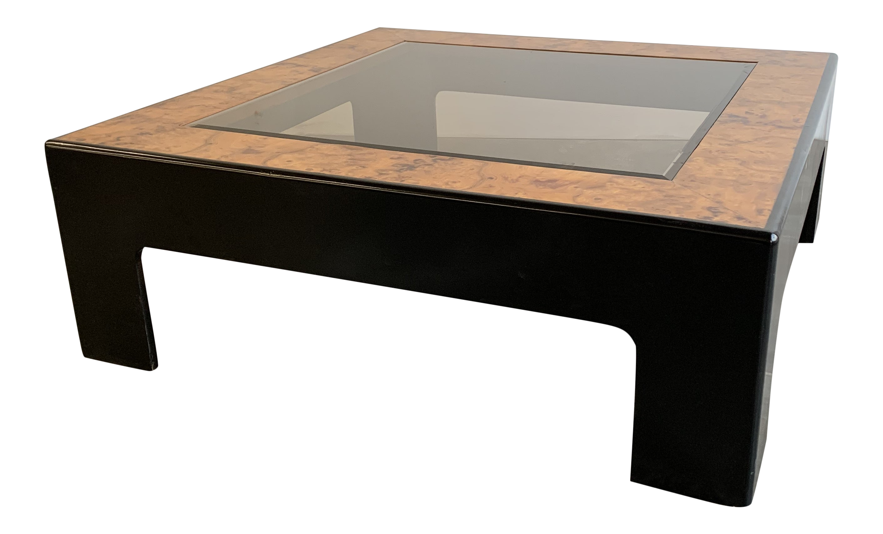 - Mid-Century Modern Burlwood And Black Lacquered Coffee Table