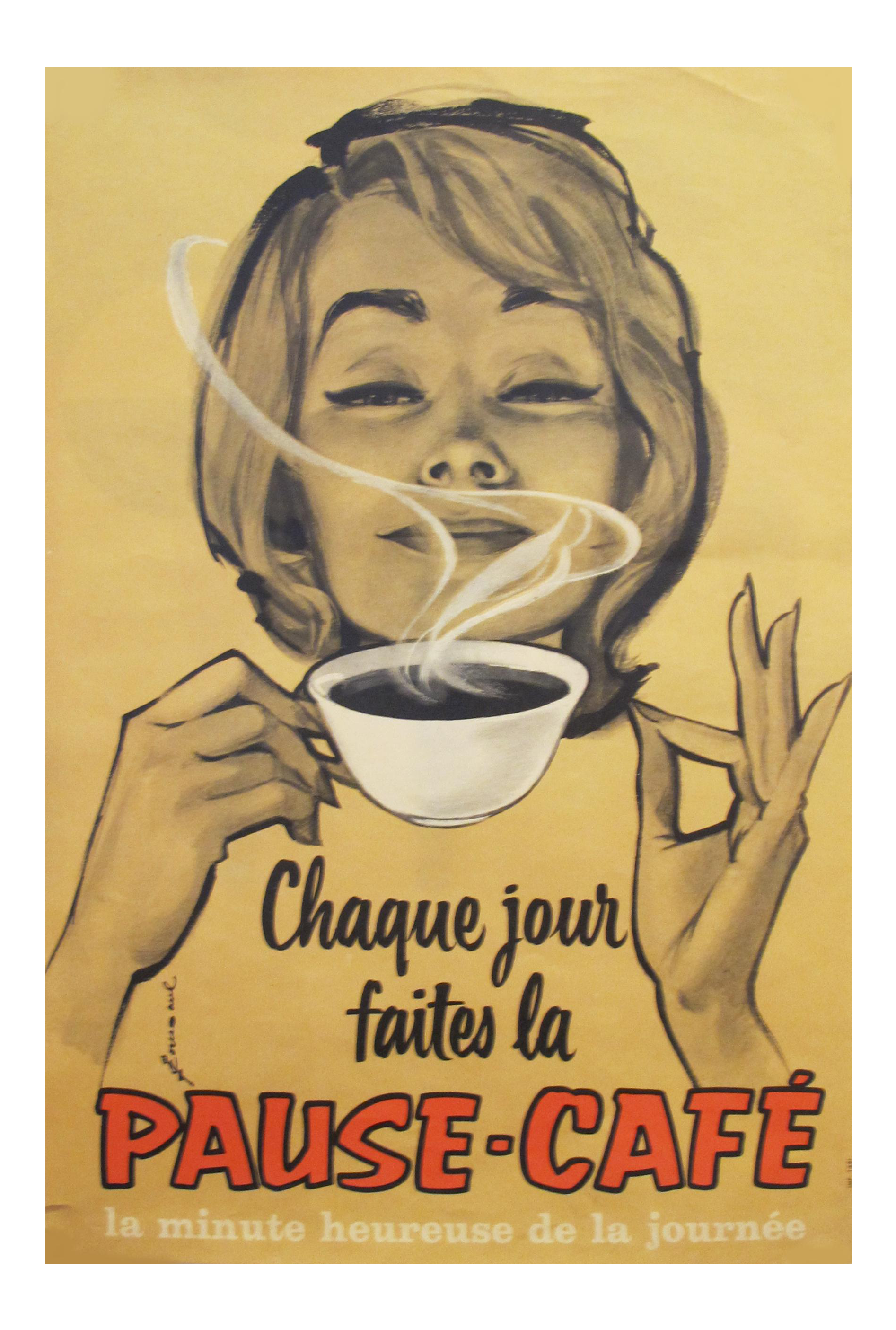 1950s Vintage French Coffee Poster, Pause Cafe | Chairish