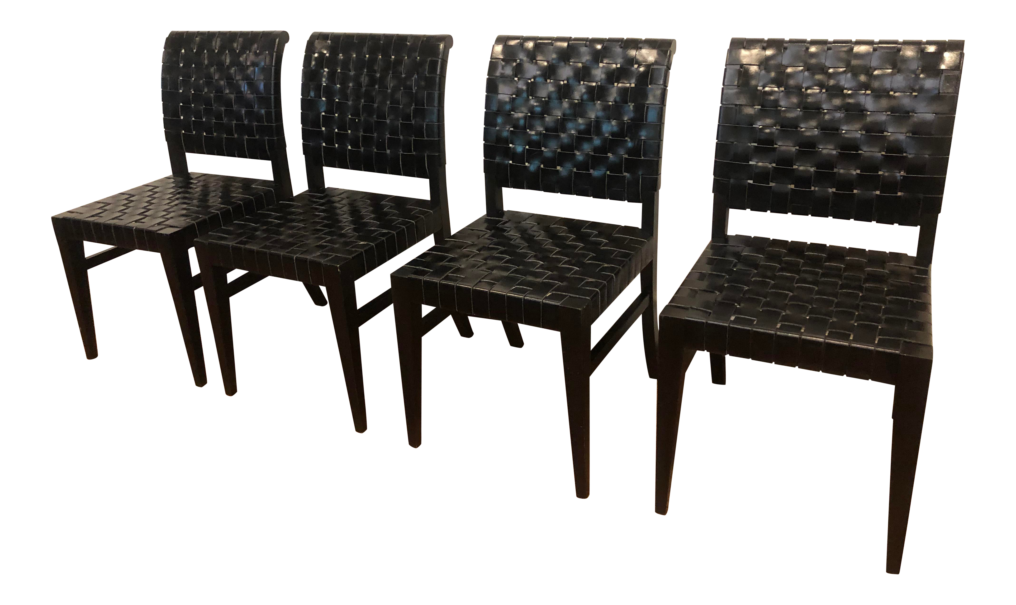 Black Woven Leather Dining Chair Chairish
