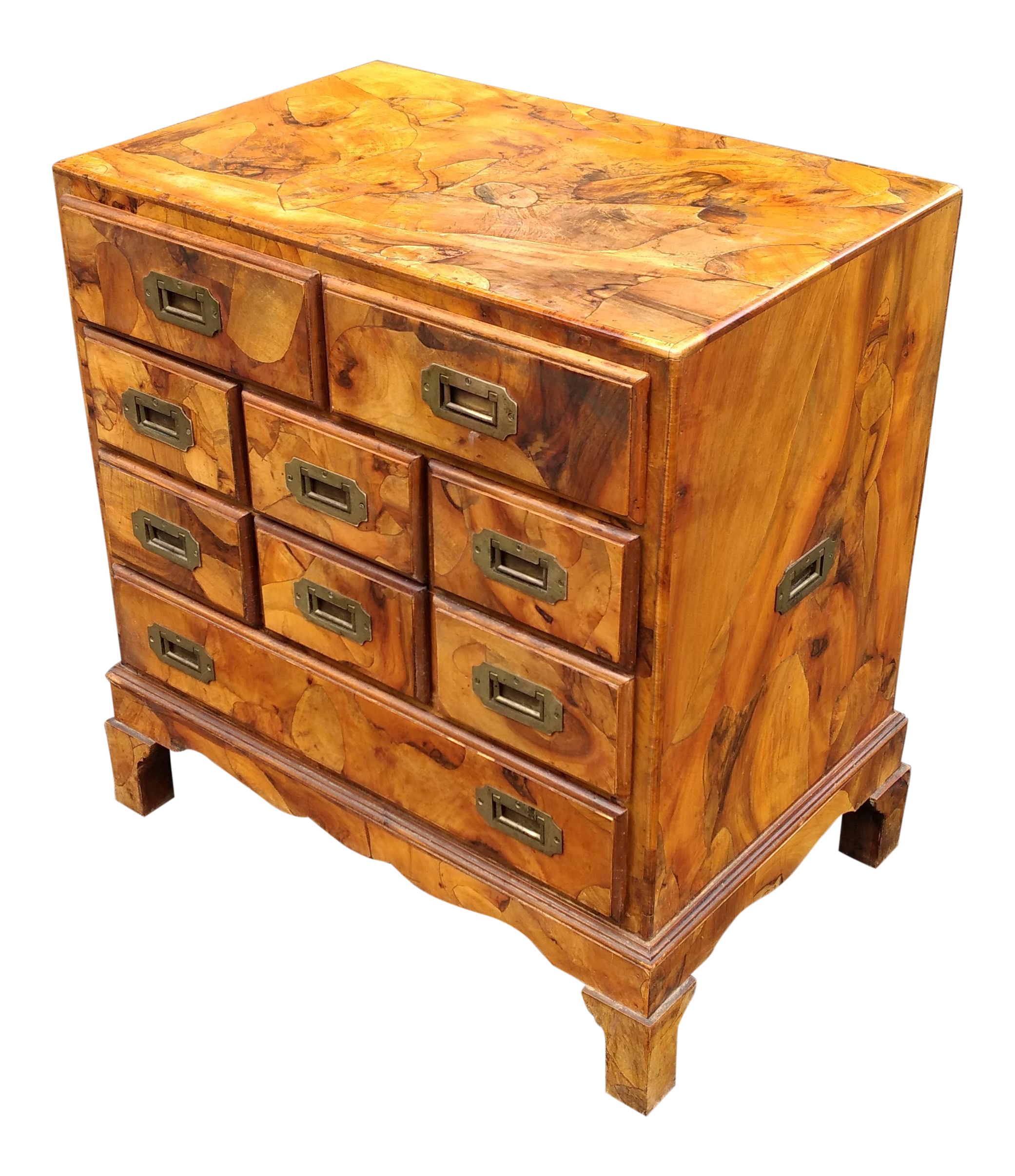Italian Campaign Style Olive Wood Bachelors Chest | Chairish