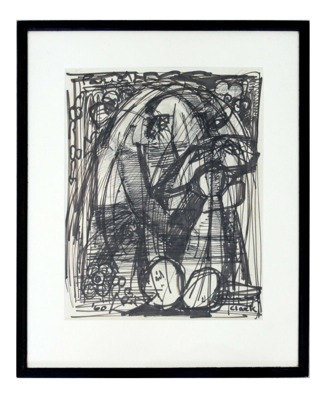 Mid Century Modern Framed Original Abstract Marker Drawing Signed Clark 1960 Chairish