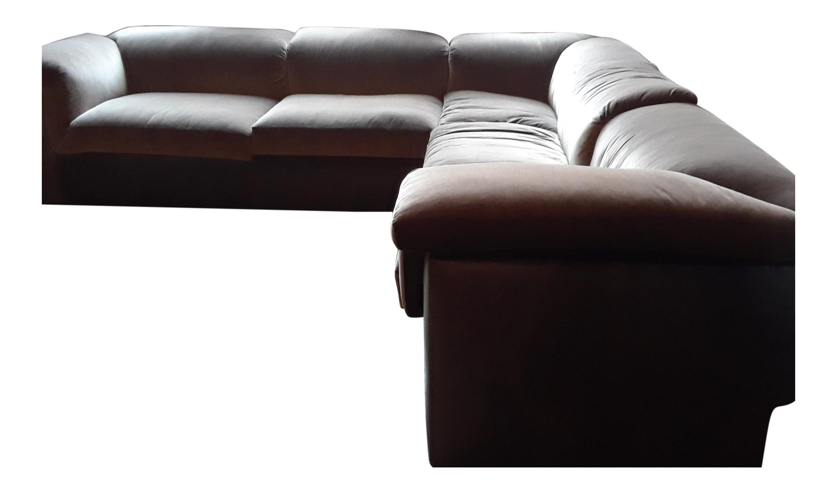 L-Shaped Leather and Velvet Sofa