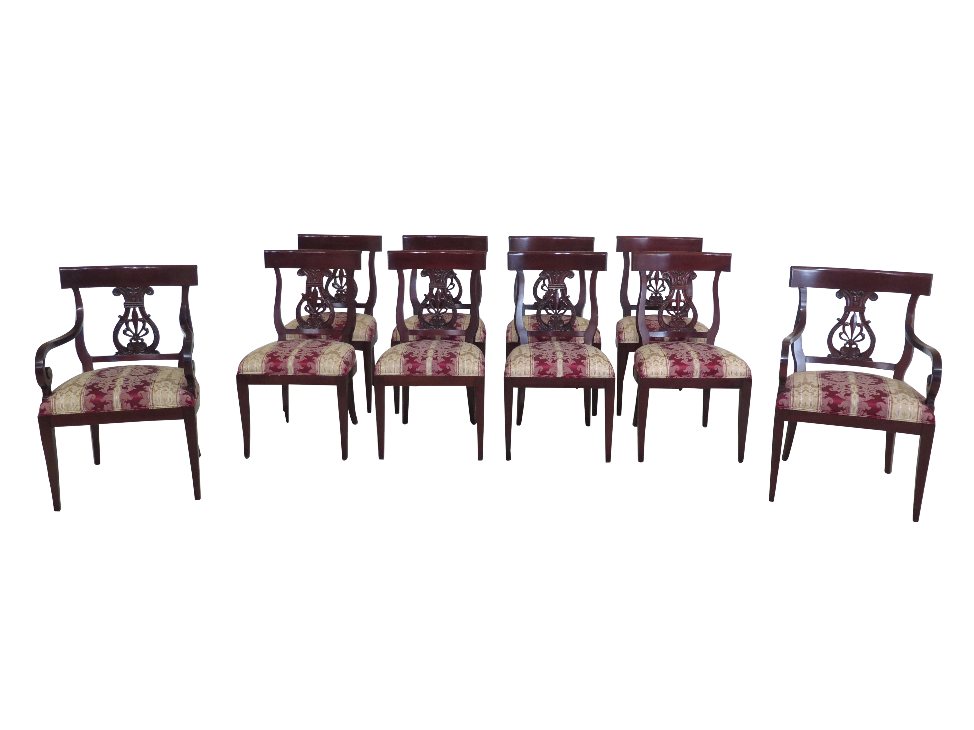 Kindel Neoclassical Mahogany Dining Room Chairs - Set of 10