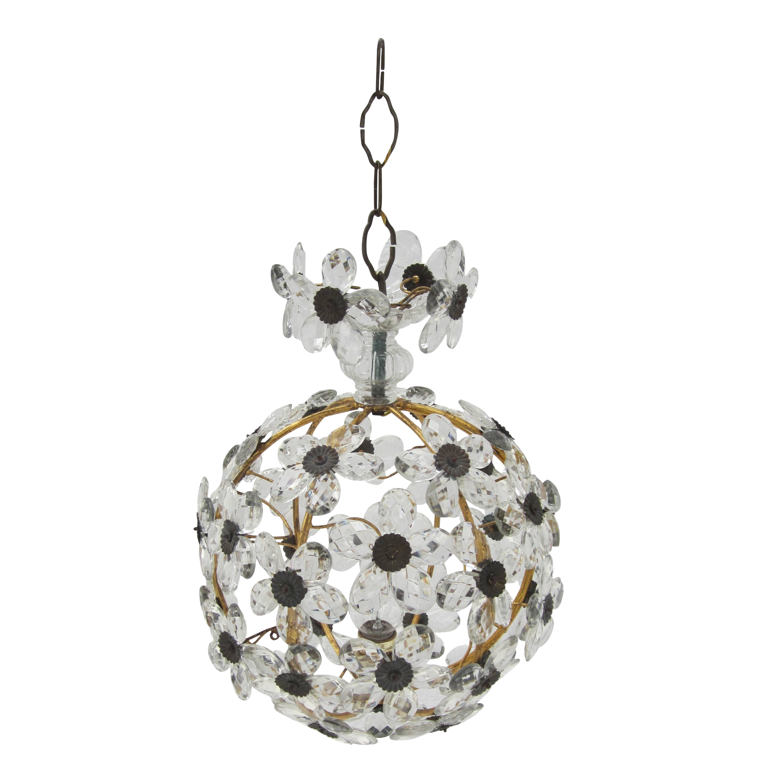 French Crystal Flower Ball Chandelier Chairish